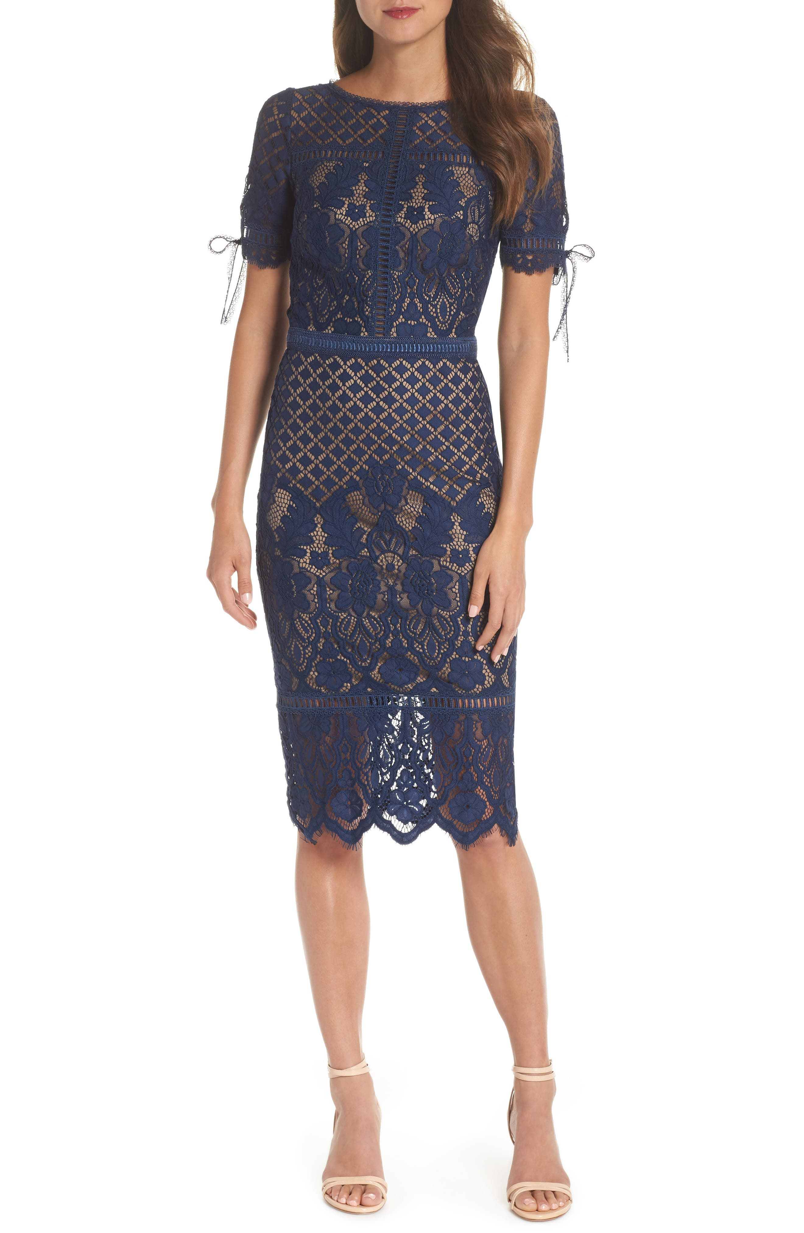 Tie Sleeve Lace Sheath Dress,                         Main,                         color, MIDNIGHT/ NUDE