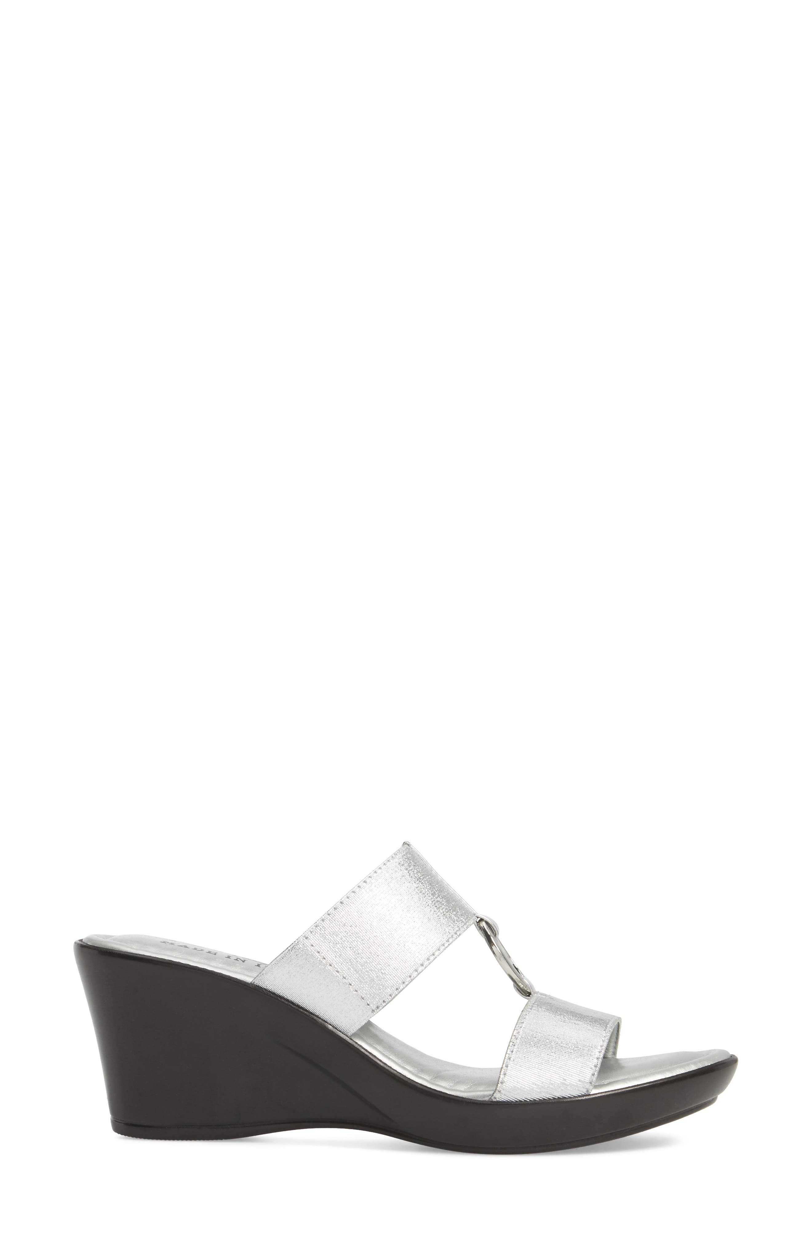 by Easy Street<sup>®</sup> Marietta Slide Sandal,                             Alternate thumbnail 3, color,                             SILVER PATENT FAUX LEATHER