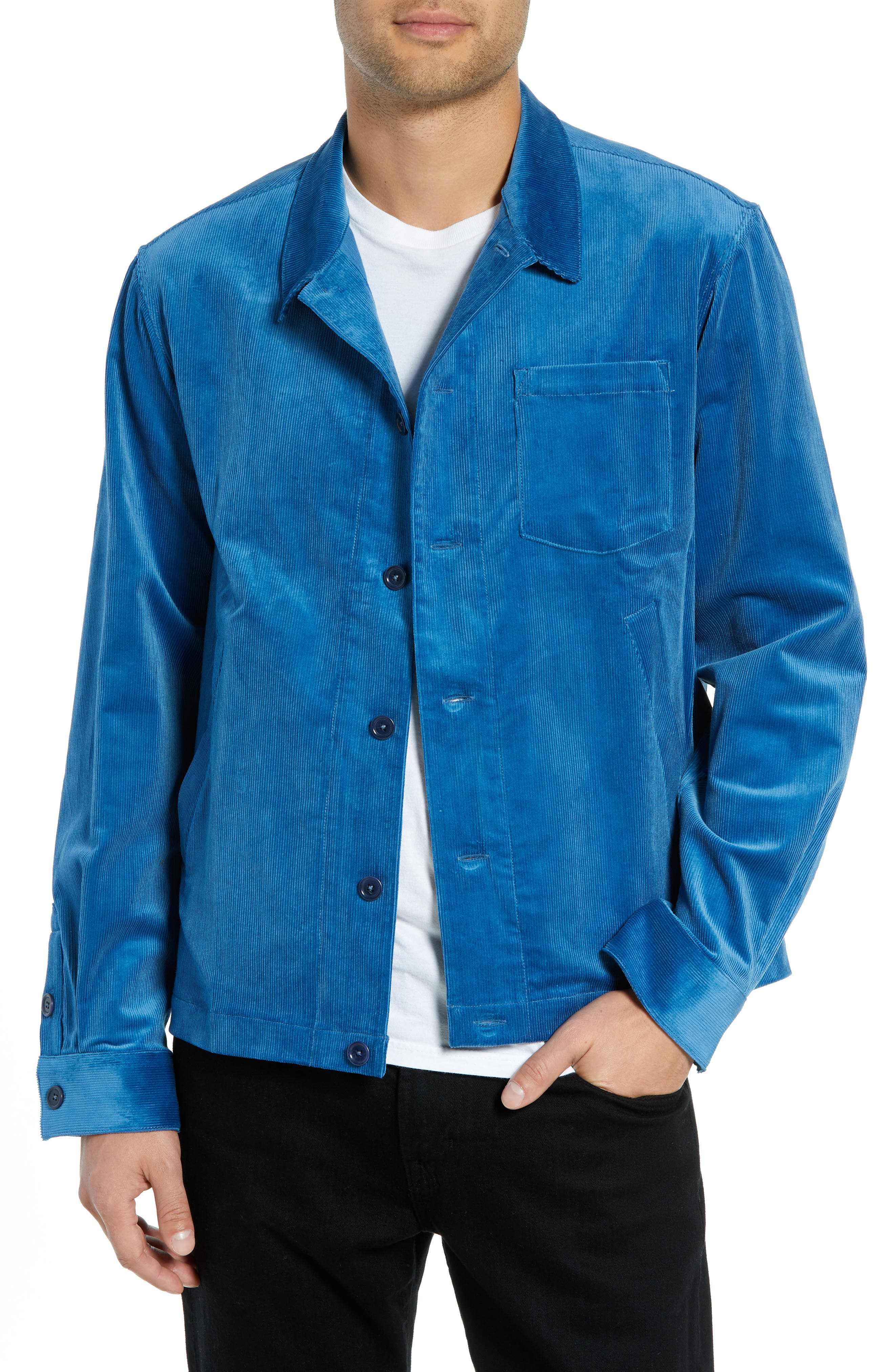 Corduroy Stretch Shirt Jacket,                         Main,                         color, BLUE