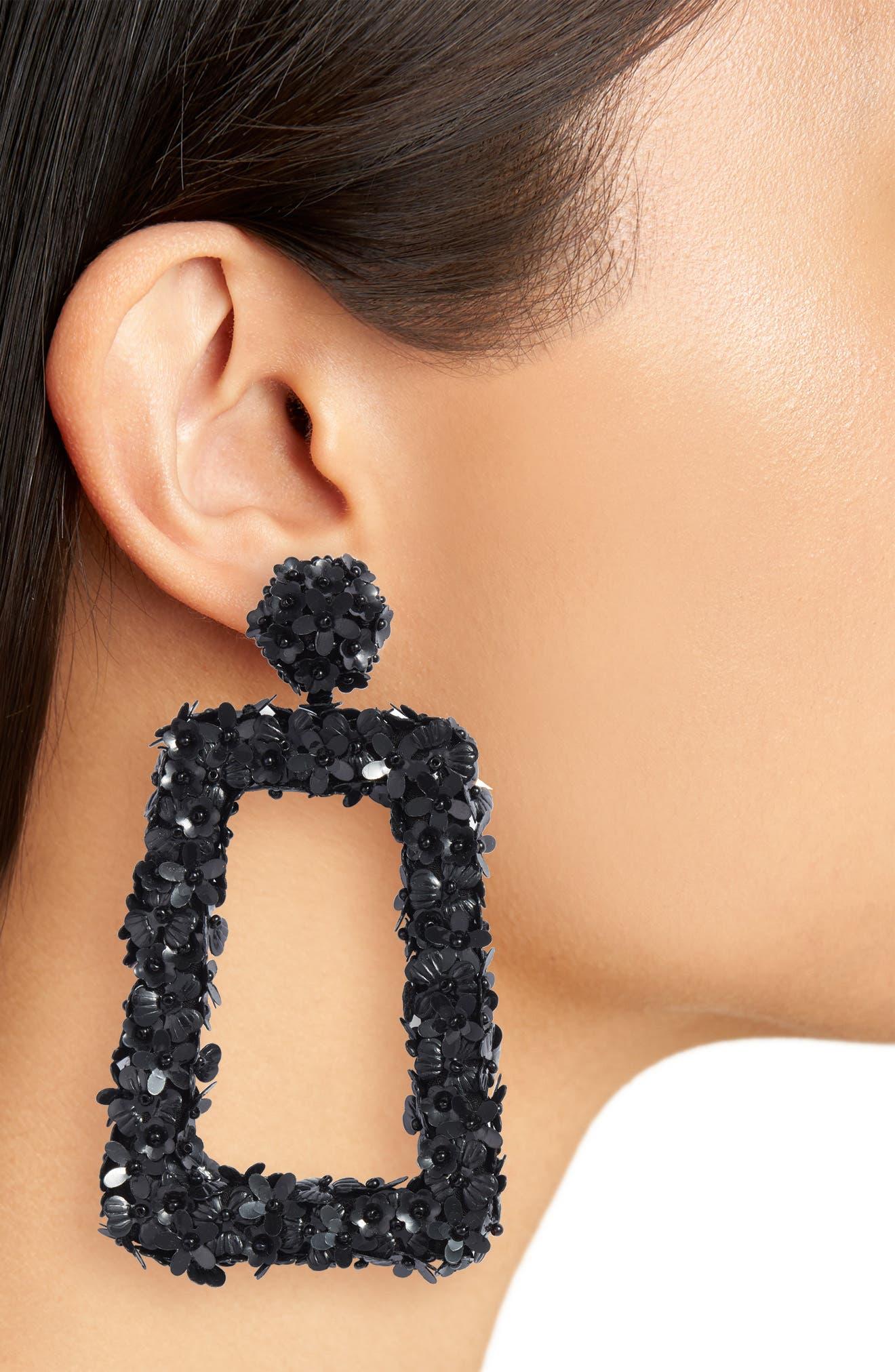 SACHIN & BABI,                             Noir Fleur Dusk Earrings,                             Alternate thumbnail 2, color,                             JET