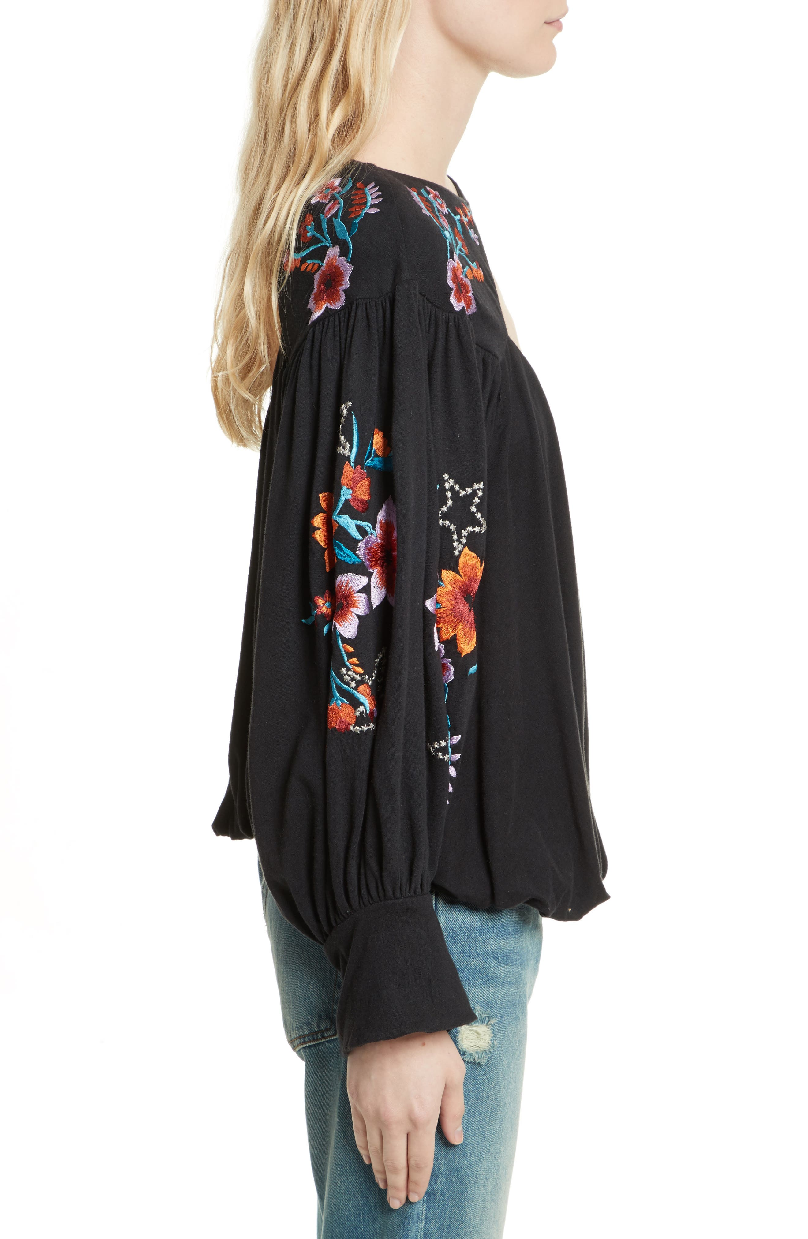 FREE PEOPLE,                             Lita Embroidered Bell Sleeve Top,                             Alternate thumbnail 3, color,                             001