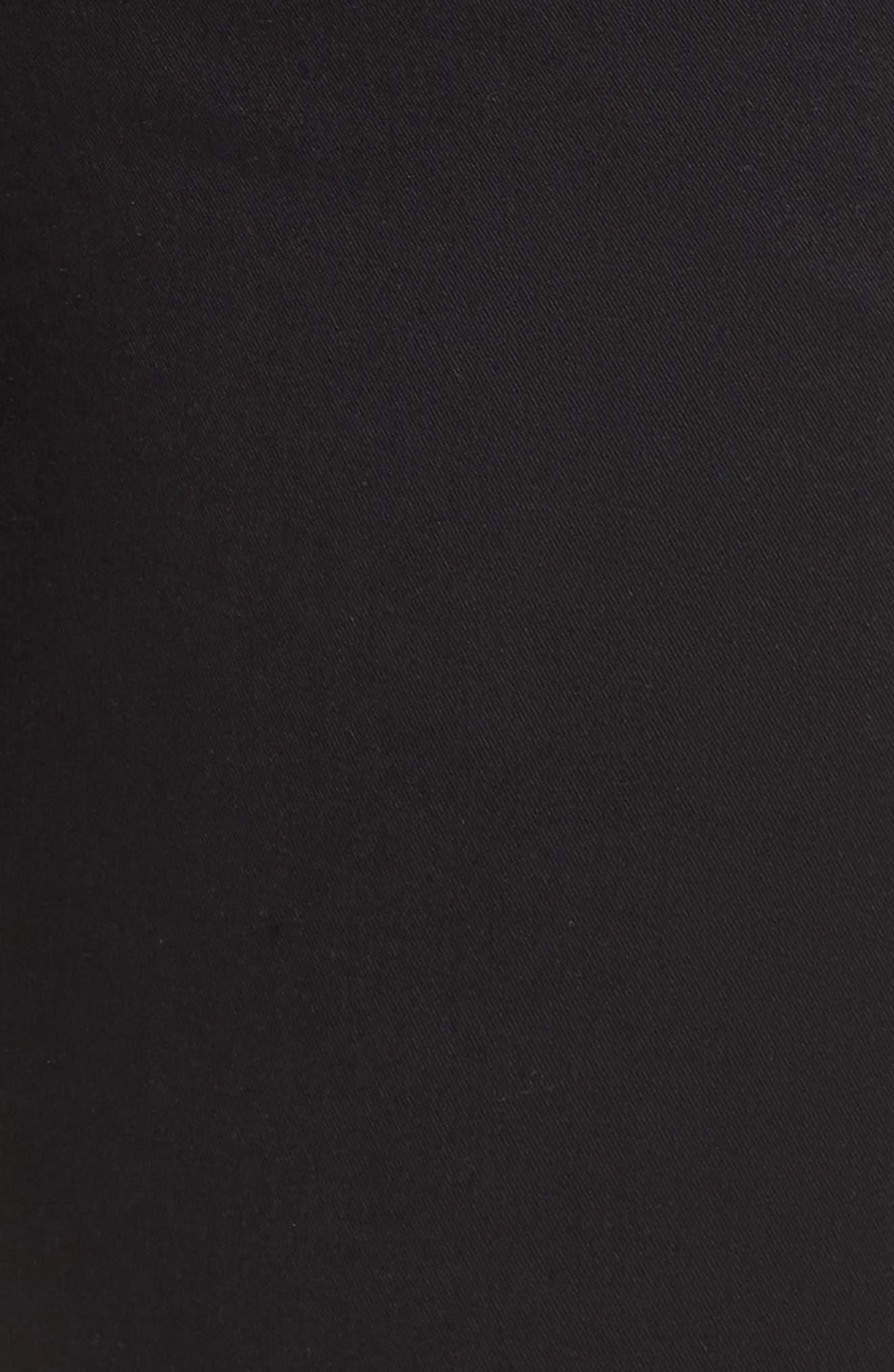 Flora Stretch Cotton Crop Pants,                             Alternate thumbnail 6, color,                             BLACK