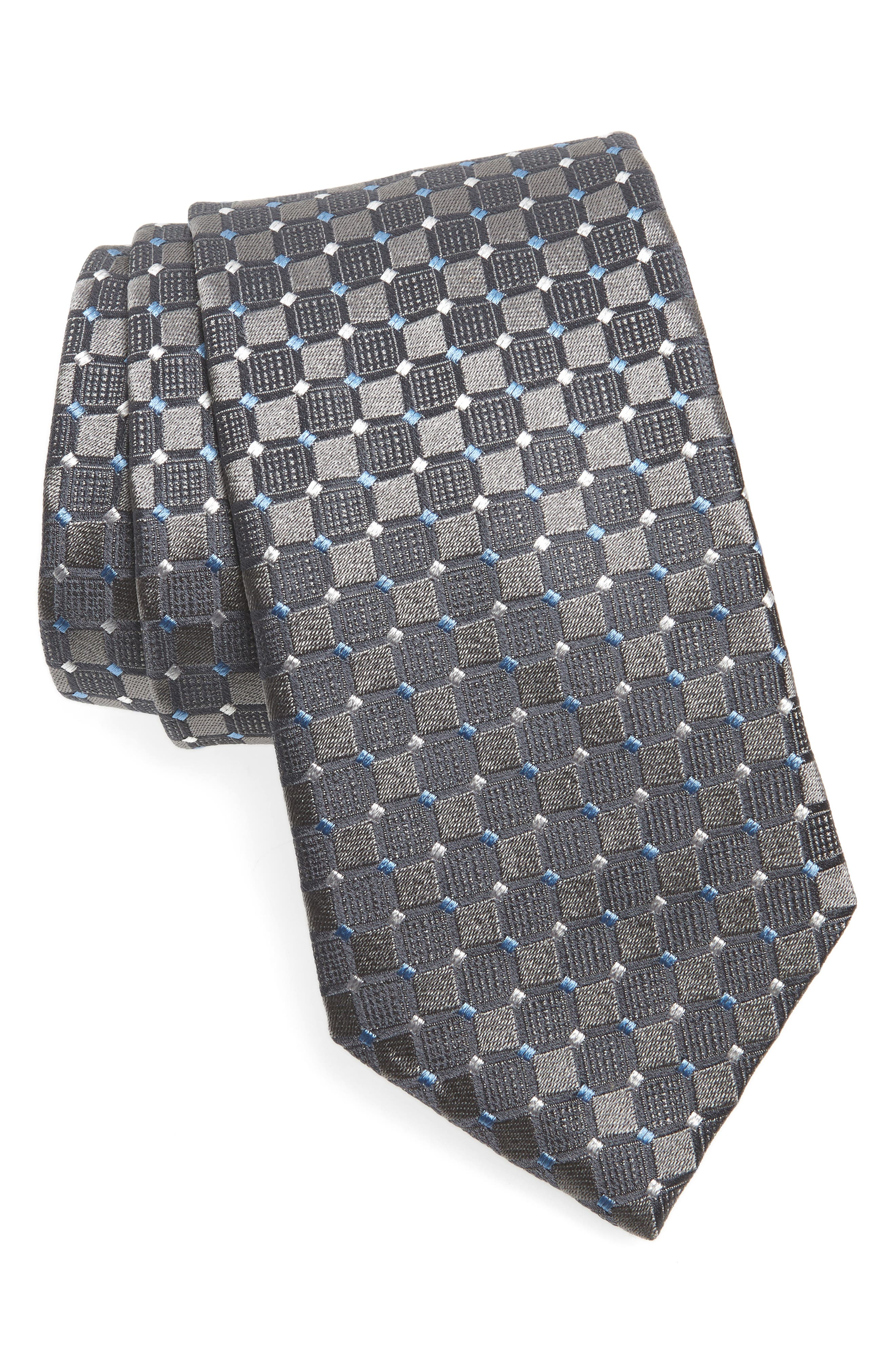 Geometric Silk Tie,                         Main,                         color, CHARCOAL