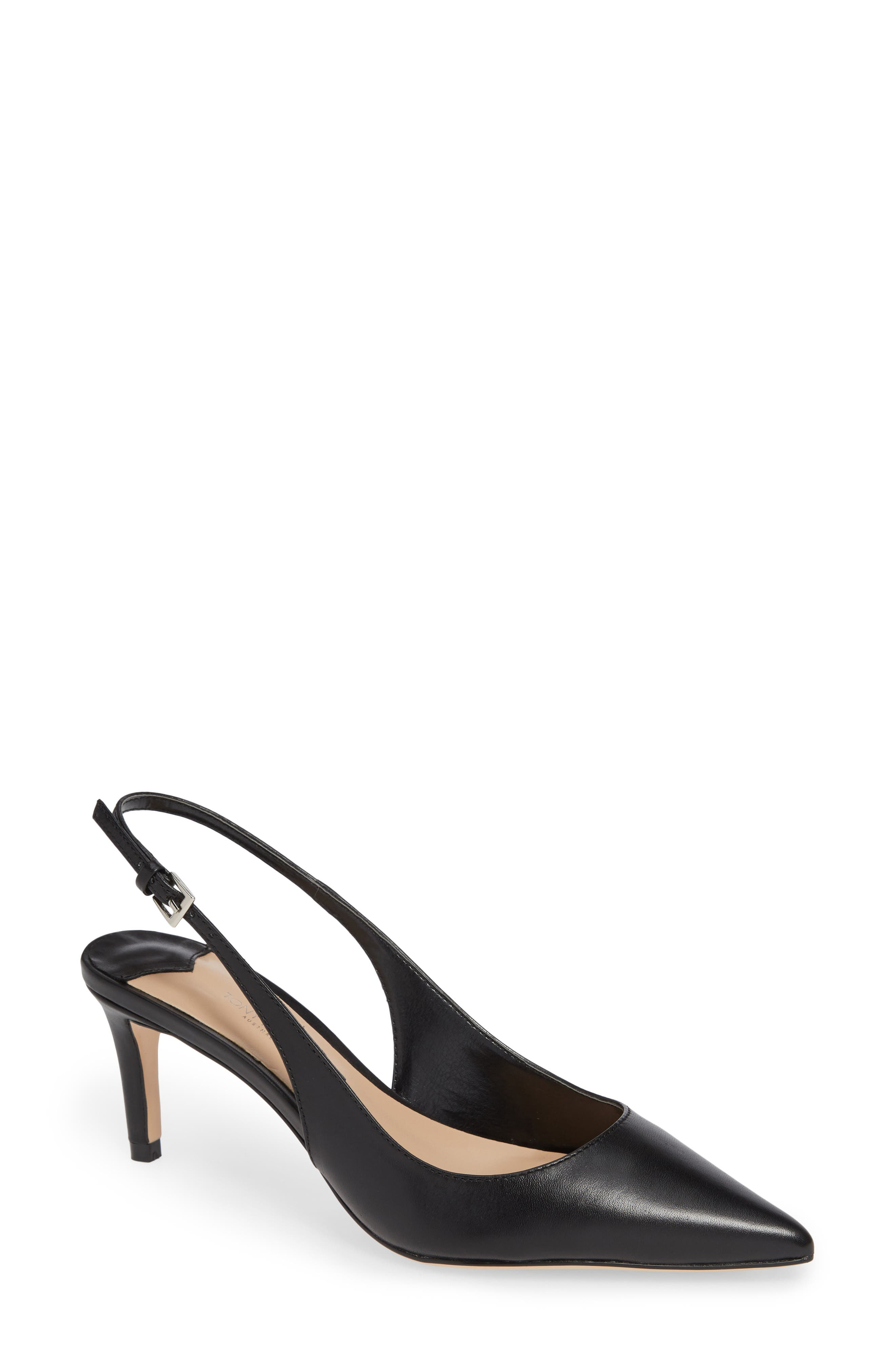 TONY BIANCO Slingback Pump in Black Como Leather