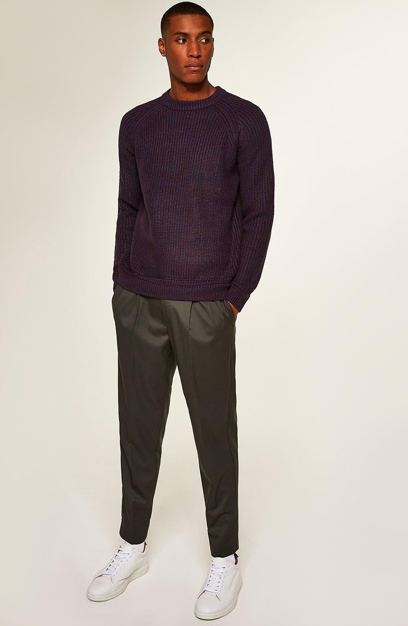 Crewneck Sweater,                             Alternate thumbnail 5, color,                             BURGUNDY MULTI