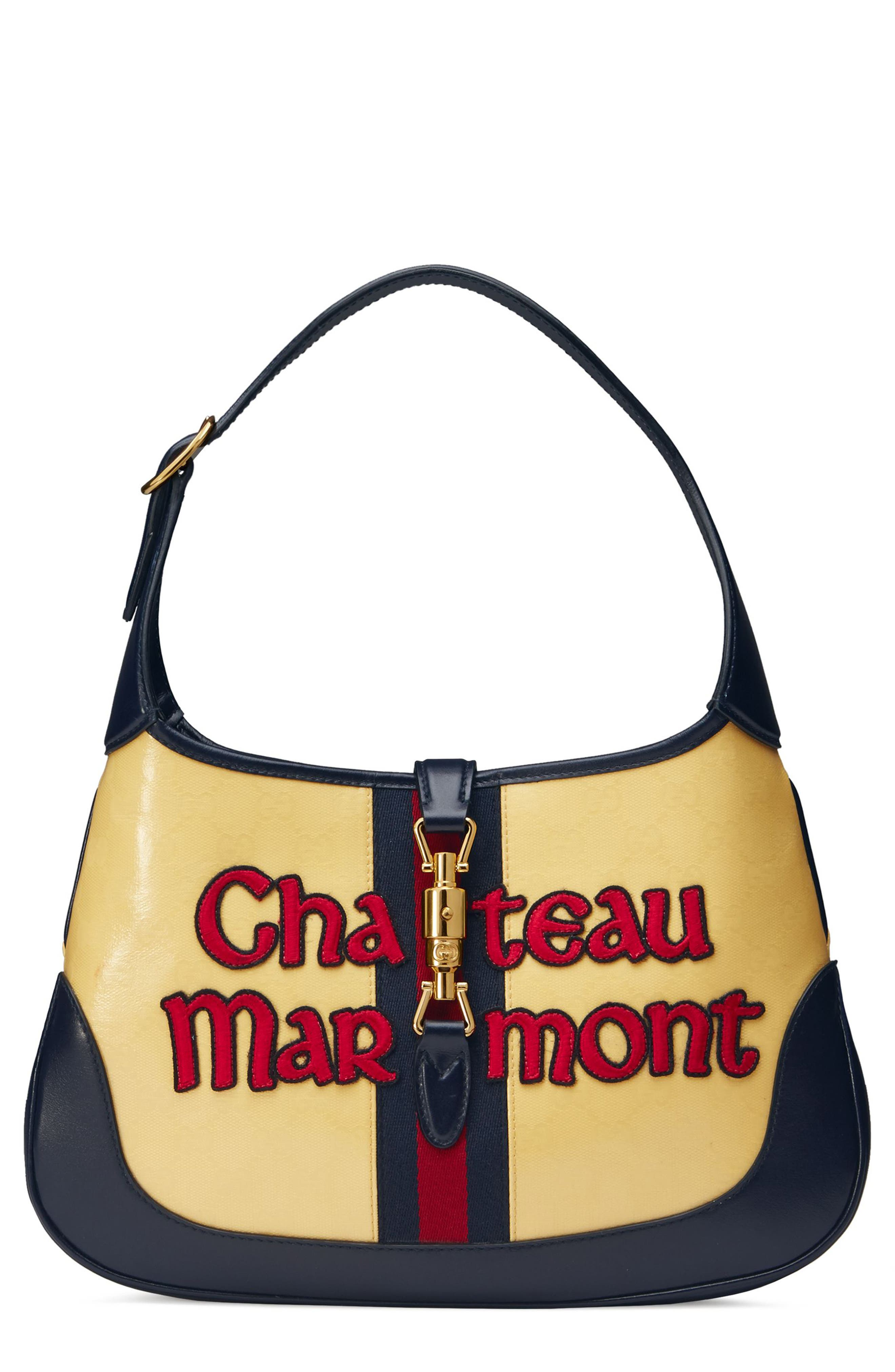 Medium Jackie Chateau Marmont GG Hobo,                         Main,                         color, STRAW YELLOW/ BLU/ RED