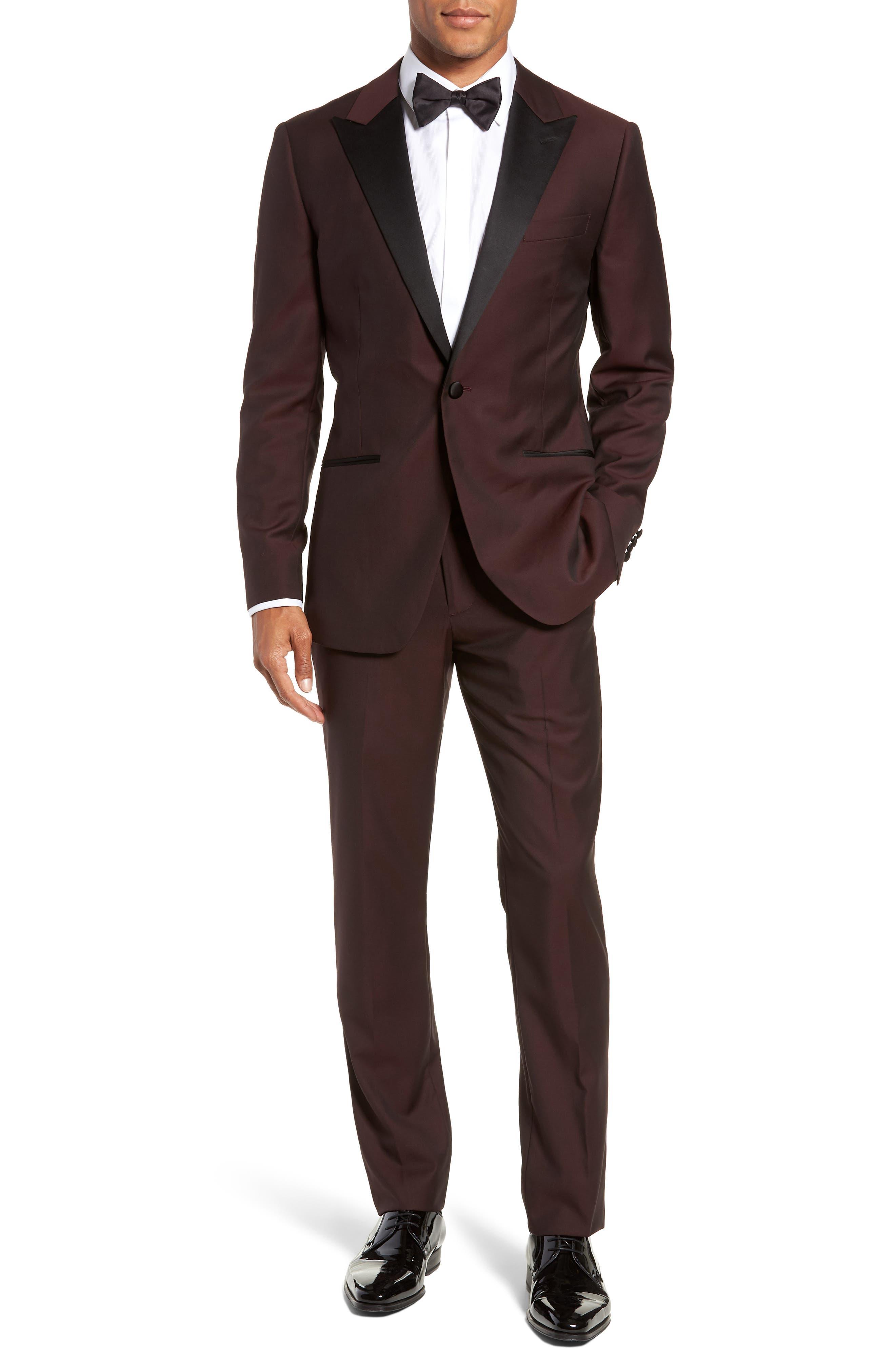 Capstone Slim Fit Tuxedo Trousers,                             Alternate thumbnail 7, color,                             MAROON