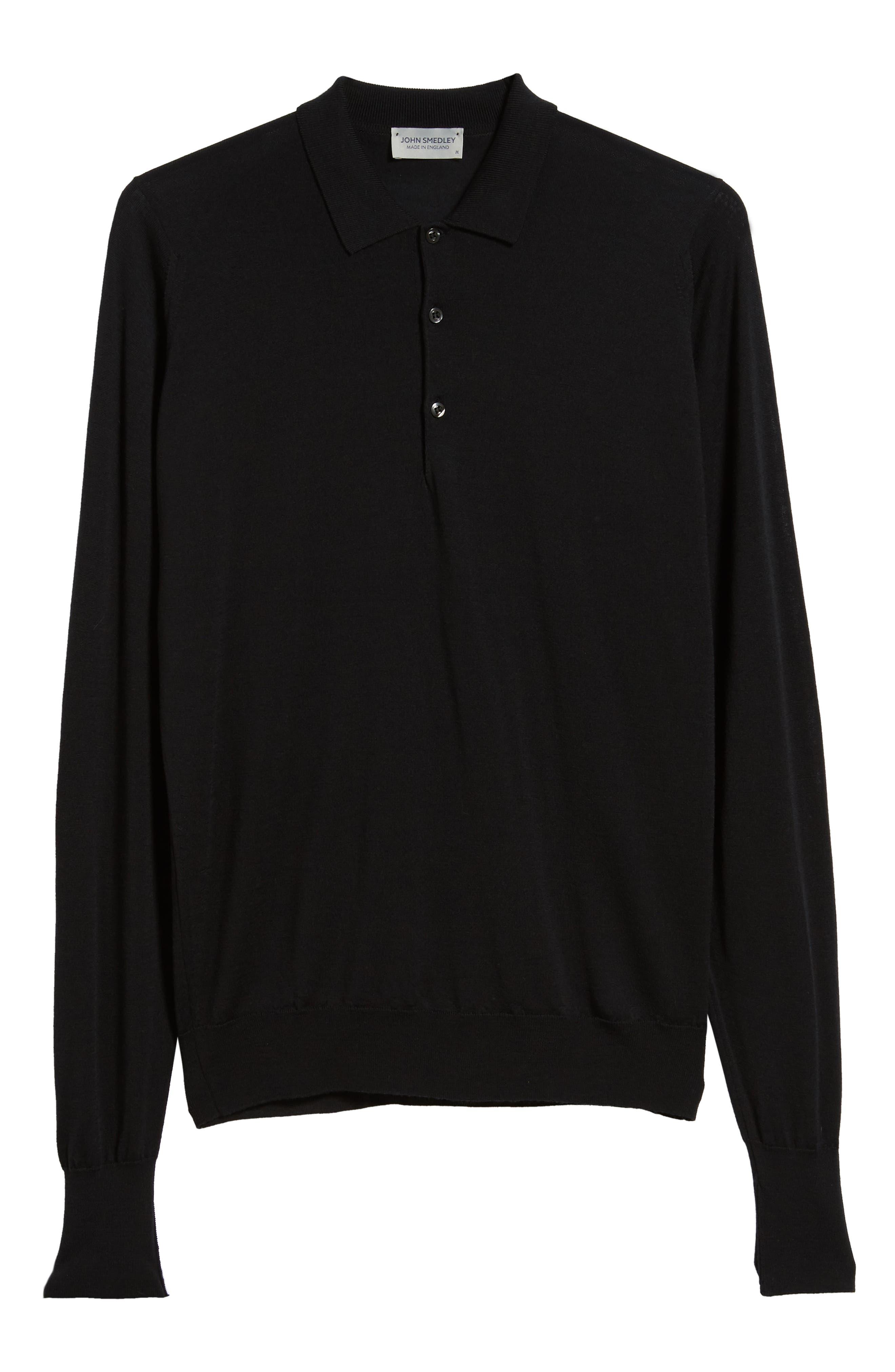 Slim Fit Long Sleeve Merino Polo,                             Alternate thumbnail 6, color,                             001