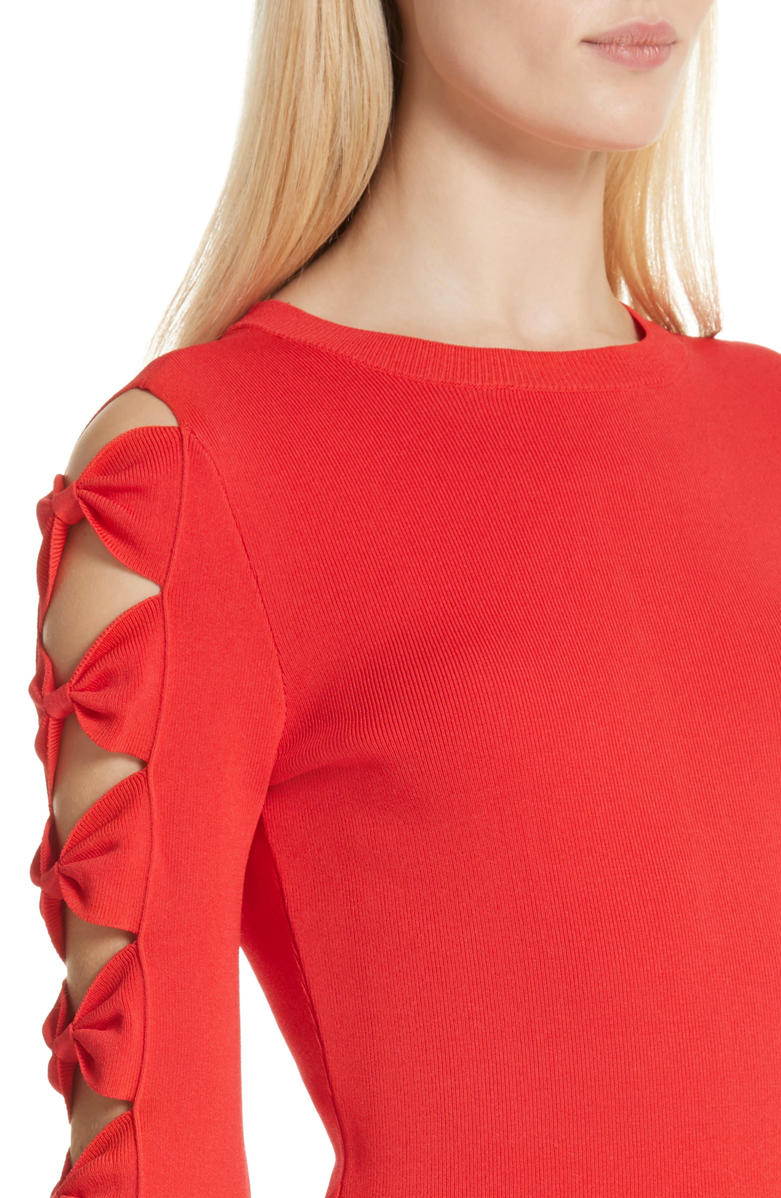Yonoh Cutout Sleeve Sweater,                             Alternate thumbnail 4, color,                             600