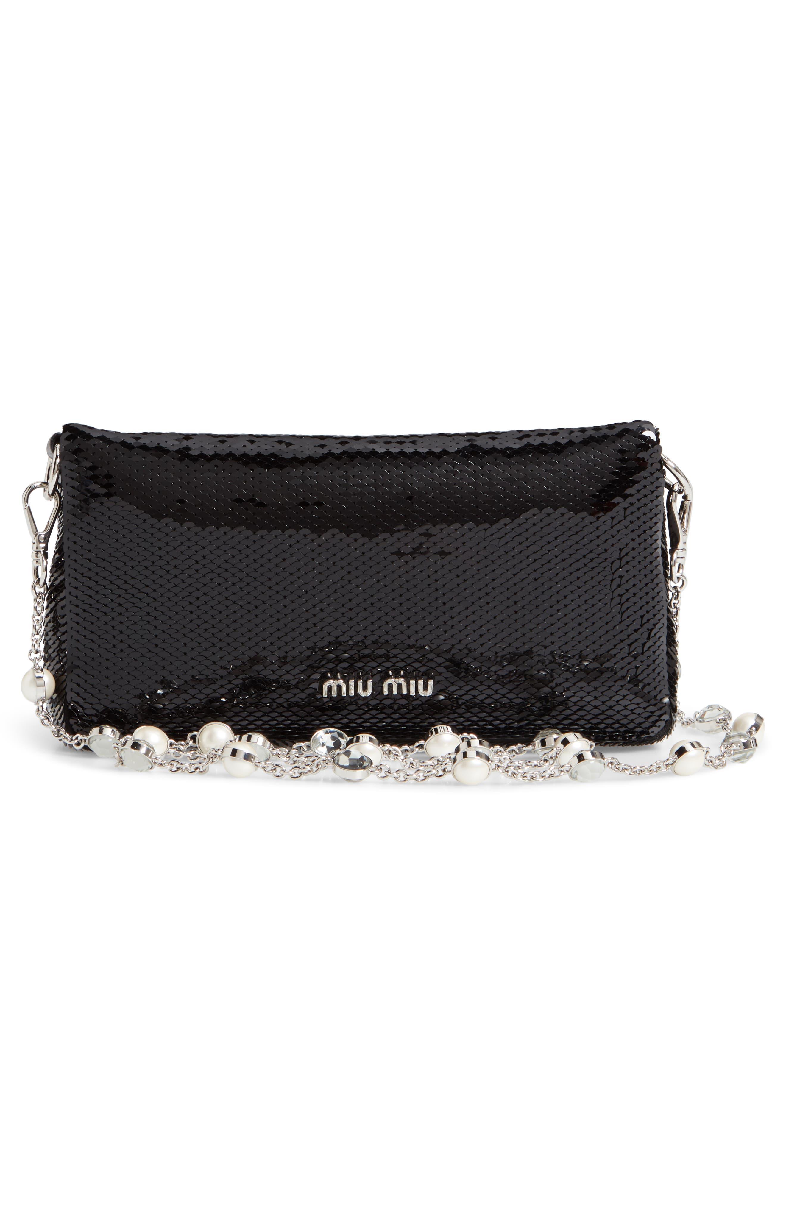Paillettes Flap Crossbody Bag,                             Alternate thumbnail 4, color,                             NERO