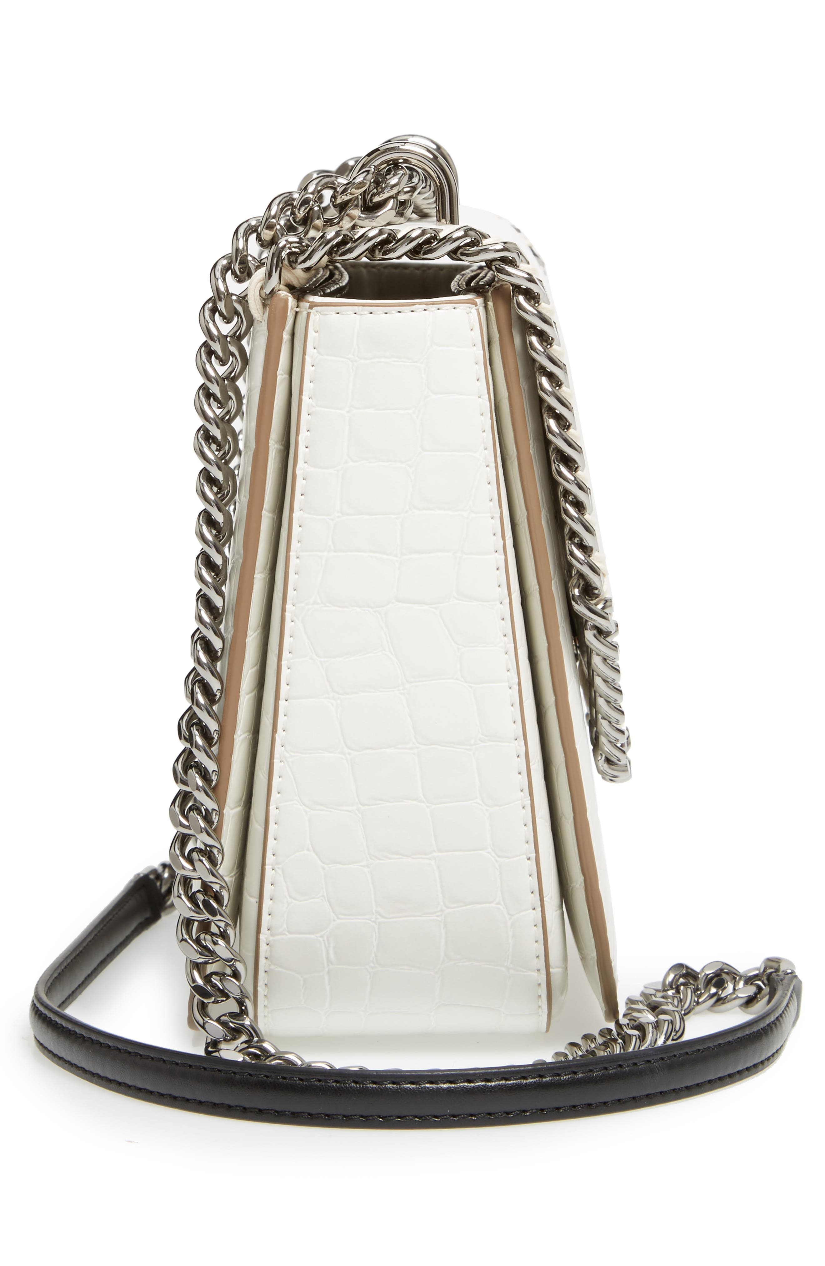 Medium Falabella Box Croc-Embossed Faux Leather Shoulder Bag,                             Alternate thumbnail 5, color,                             102