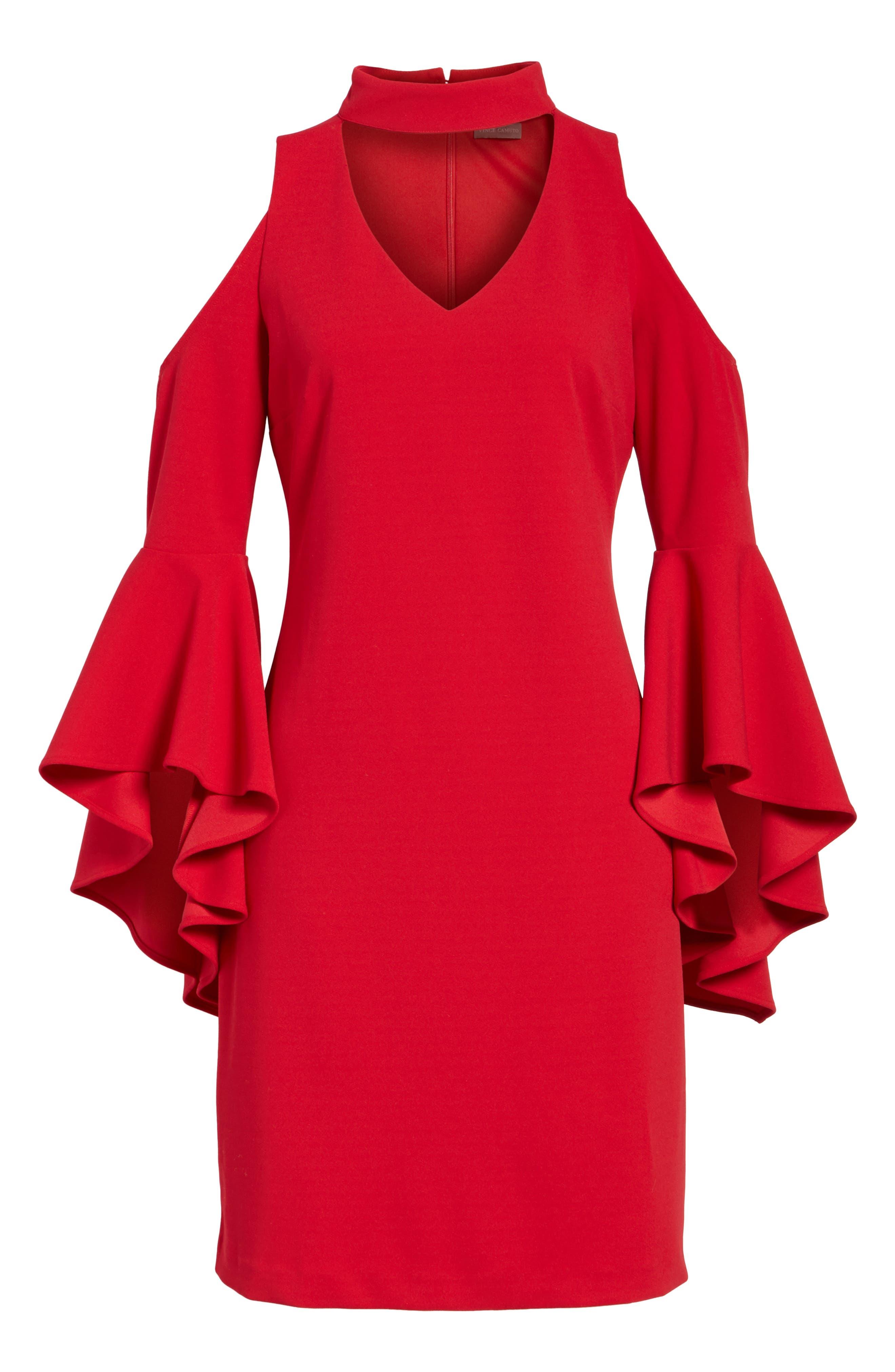 Cold Shoulder Bell Sleeve Dress,                             Alternate thumbnail 7, color,                             614