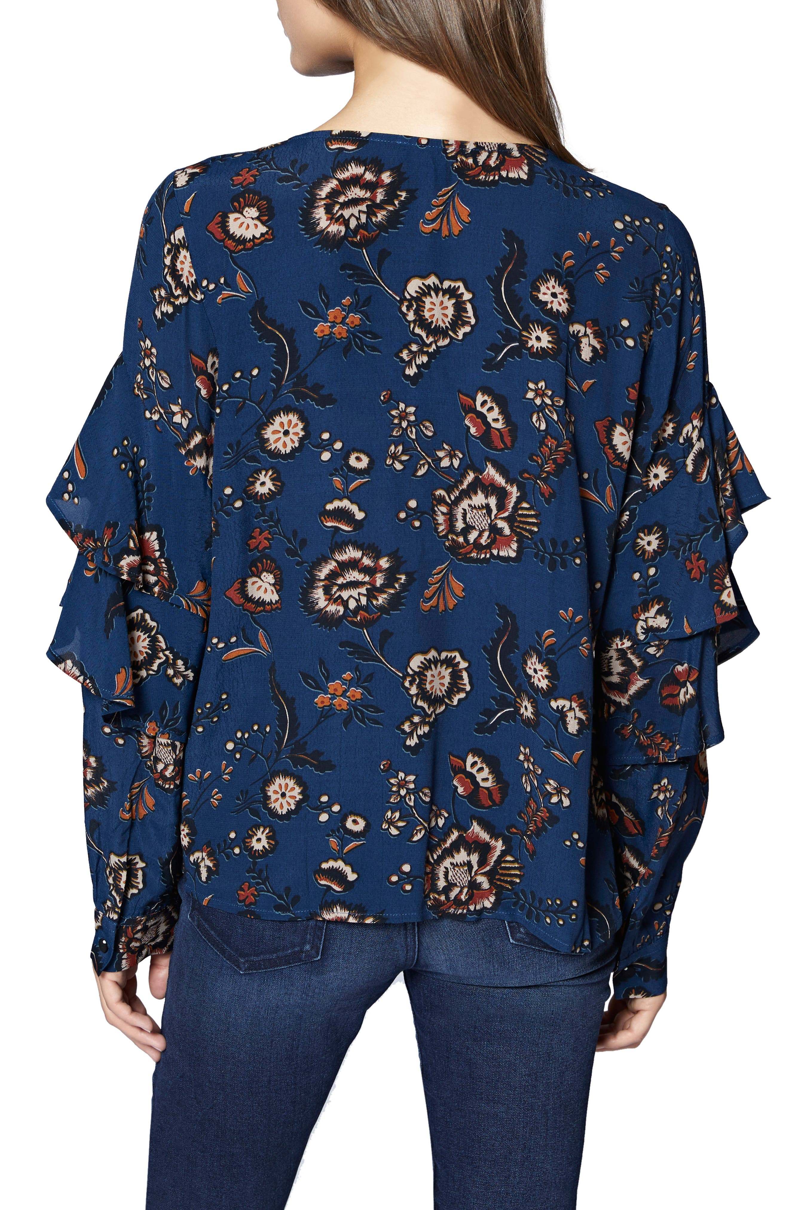 Tilly Floral Ruffle Sleeve Top,                             Alternate thumbnail 2, color,                             BLUE LIFE