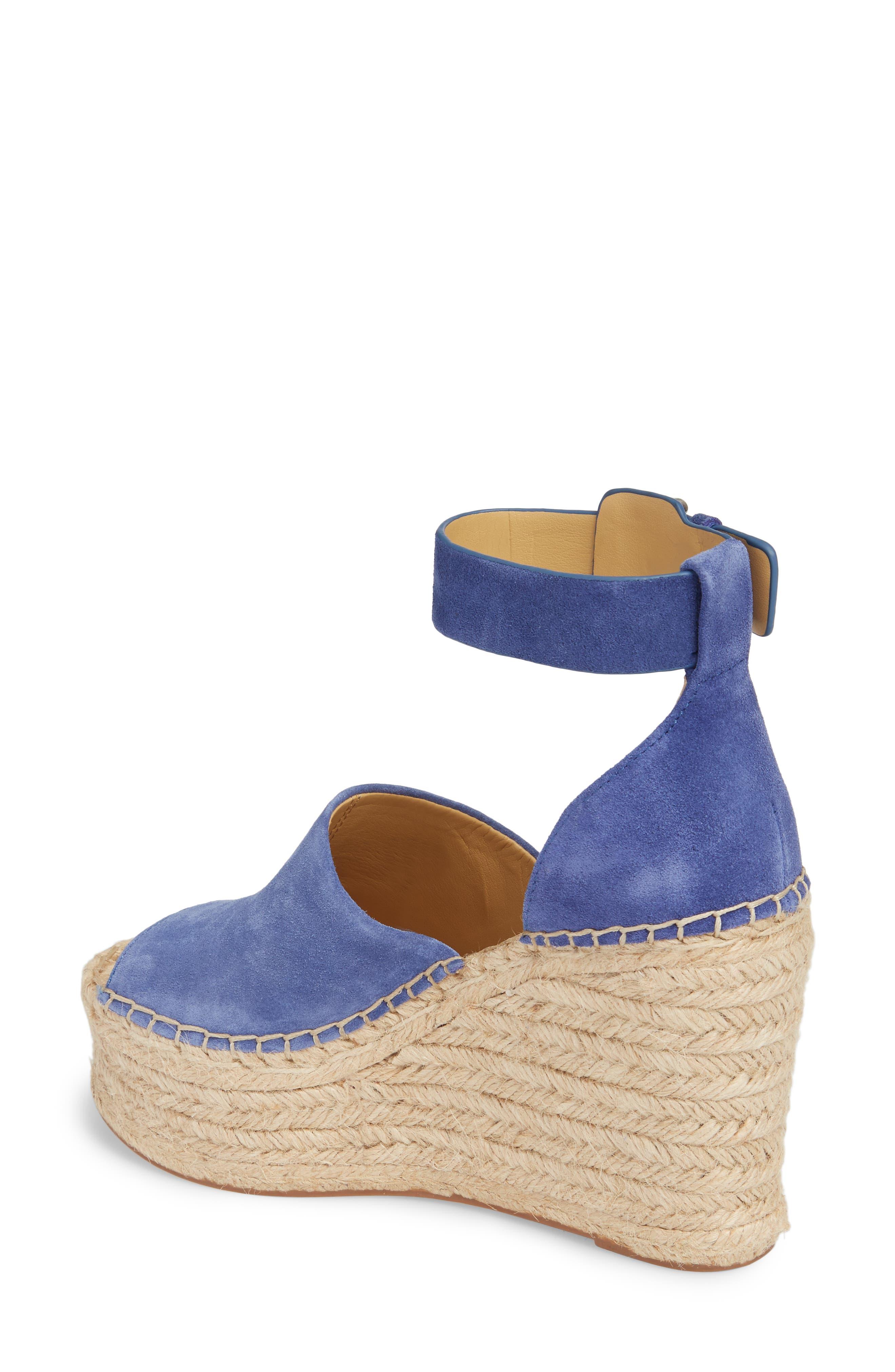 Adalyn Espadrille Wedge Sandal,                             Alternate thumbnail 2, color,                             BLUE SUEDE