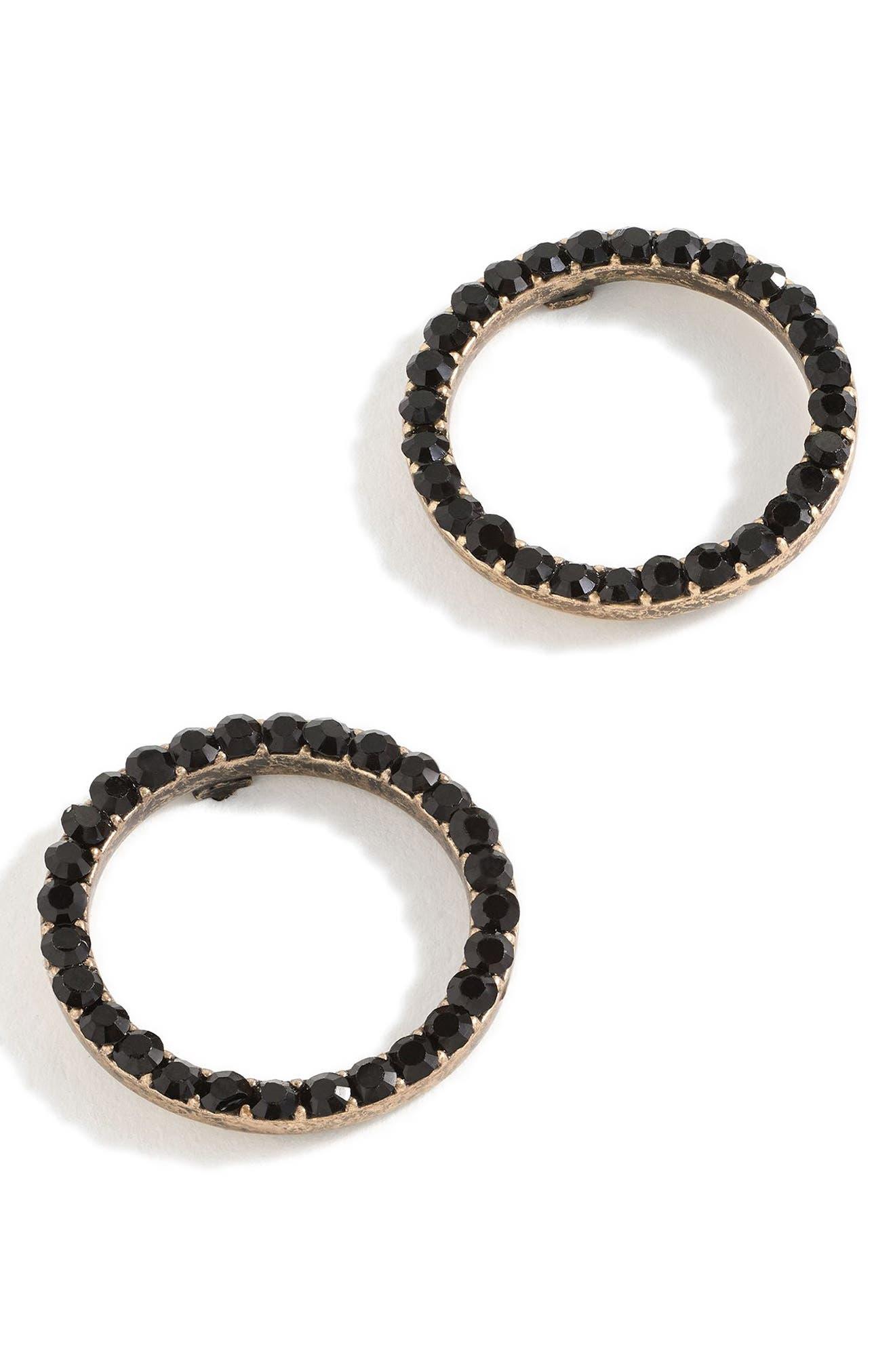 Pavé Circle Earrings,                         Main,                         color, BLACK