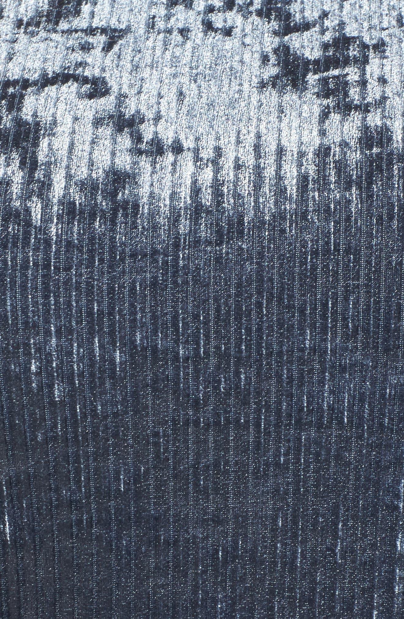 Plissé Velvet Bell Sleeve Dress,                             Alternate thumbnail 5, color,                             400