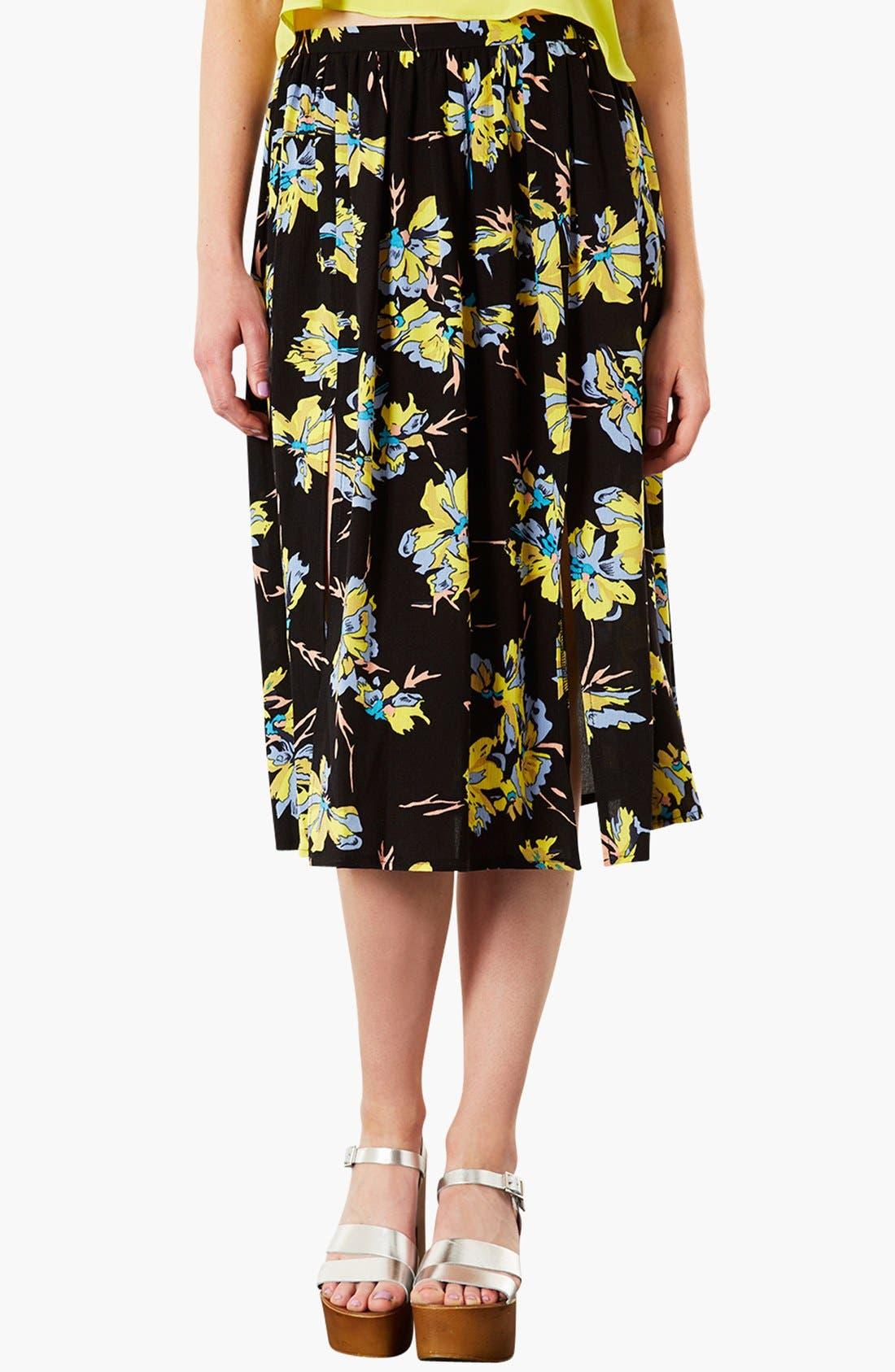 TOPSHOP Dark Floral Midi Skirt, Main, color, 001