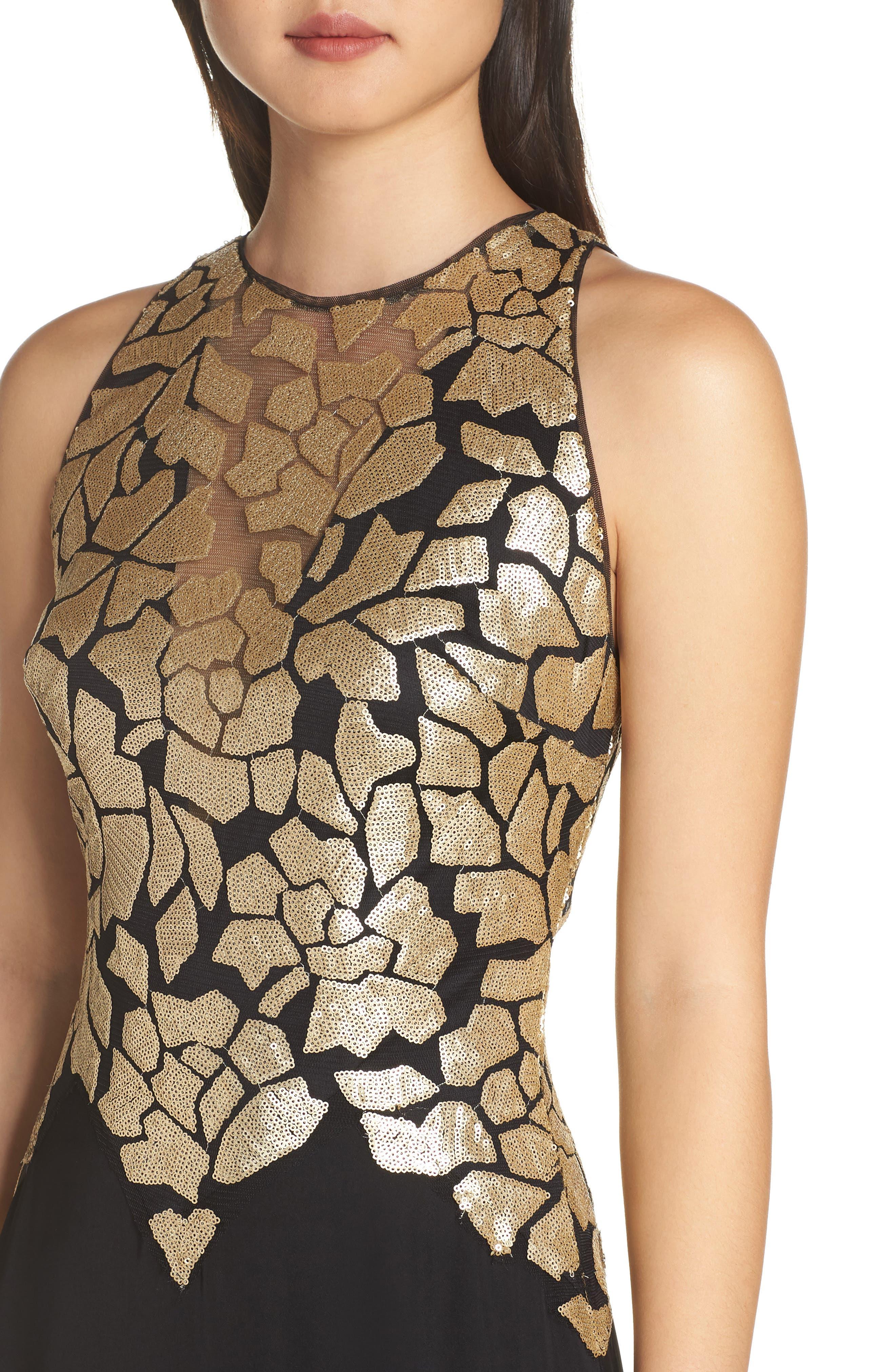 Sleeveless Sequin & Crepe Gown,                             Alternate thumbnail 4, color,                             BLACK/ GOLD