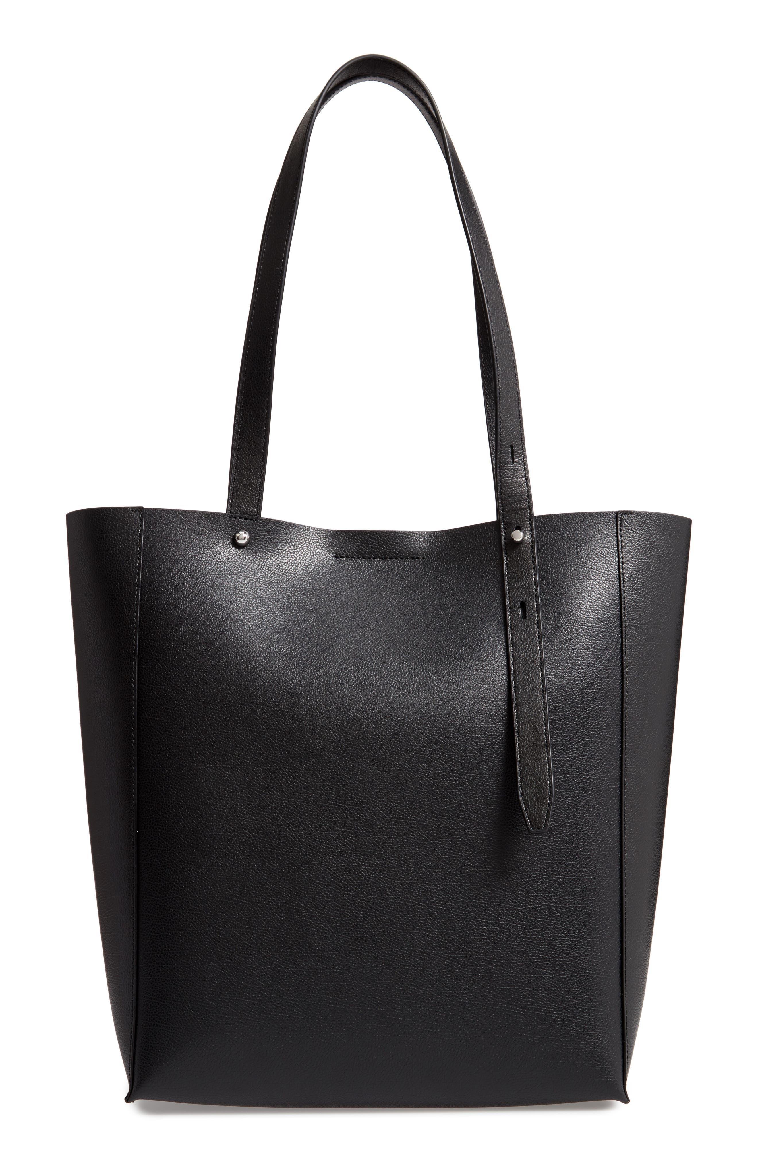 Stella Leather Tote,                         Main,                         color, BLACK