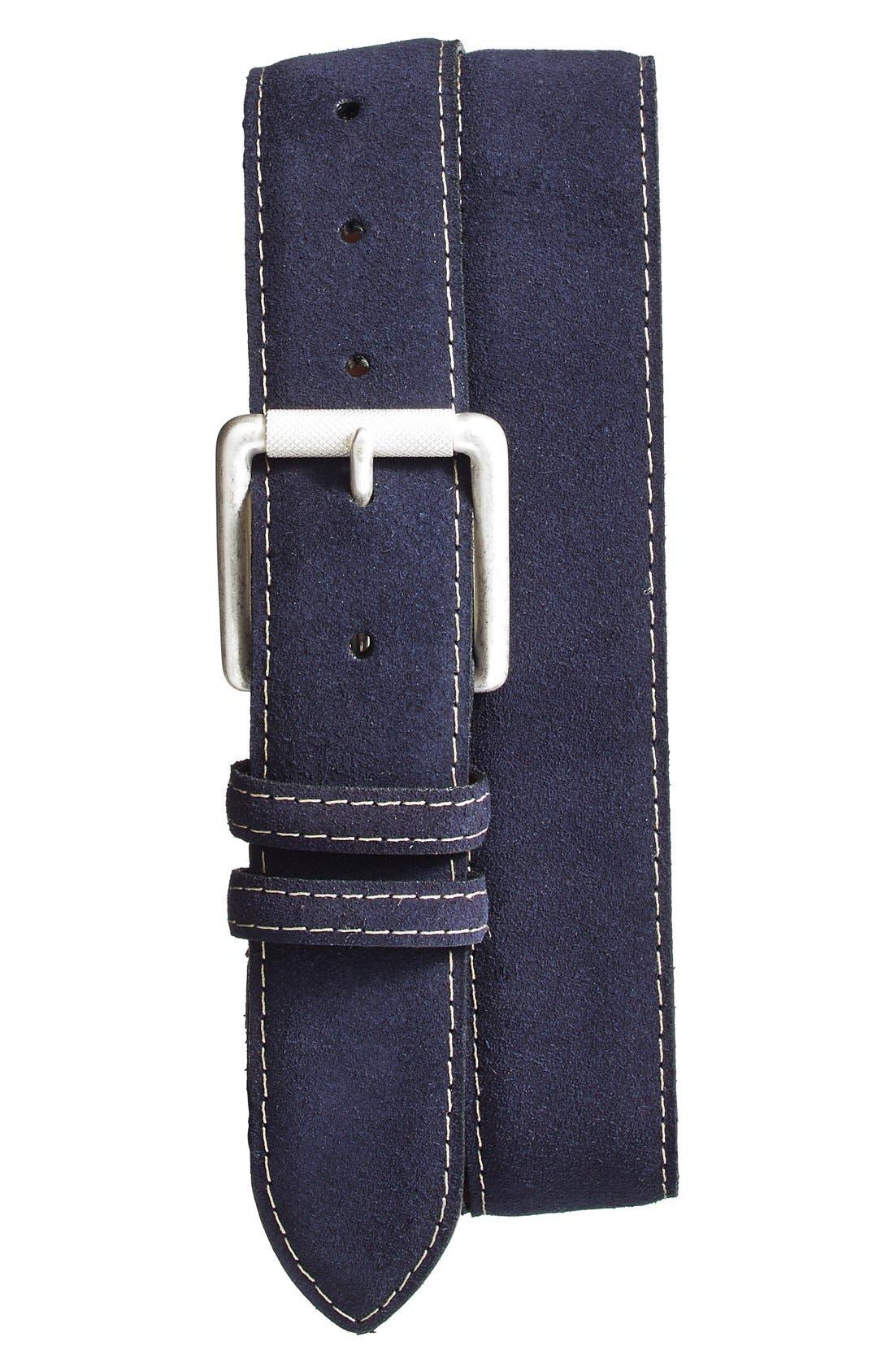 Torino Belts Suede Belt, Navy