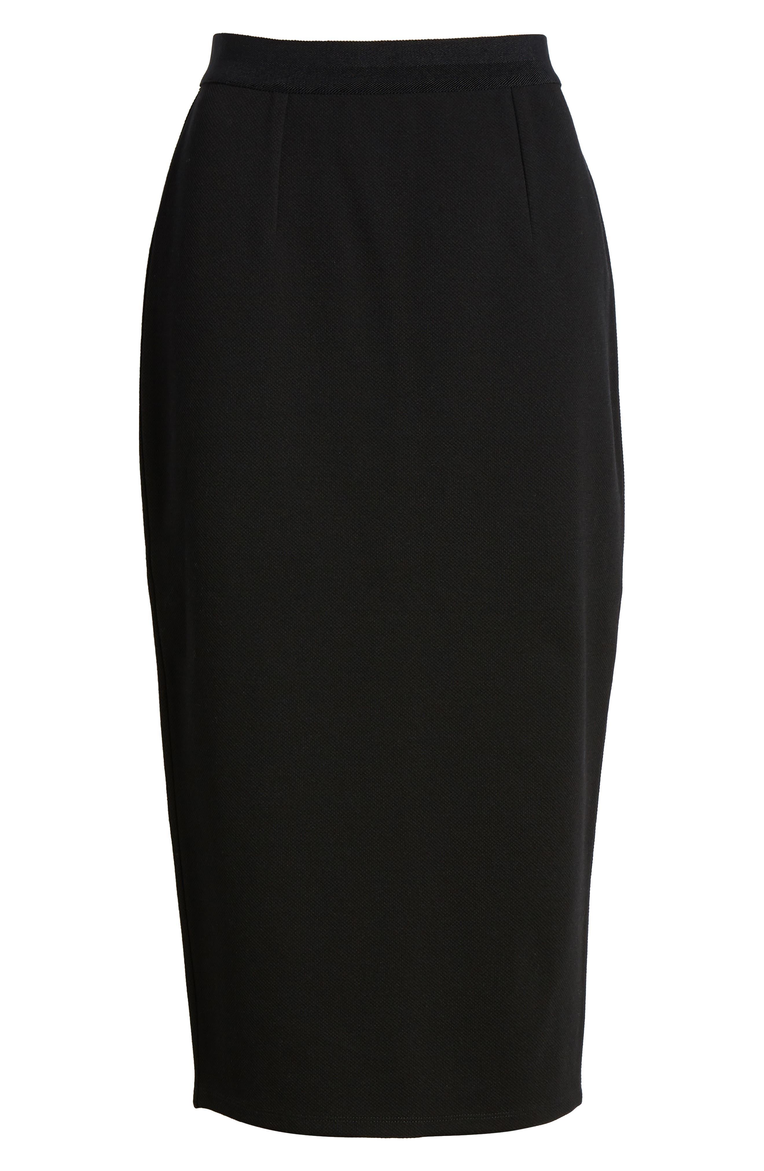 Pique Ponte Skirt,                             Alternate thumbnail 6, color,                             001