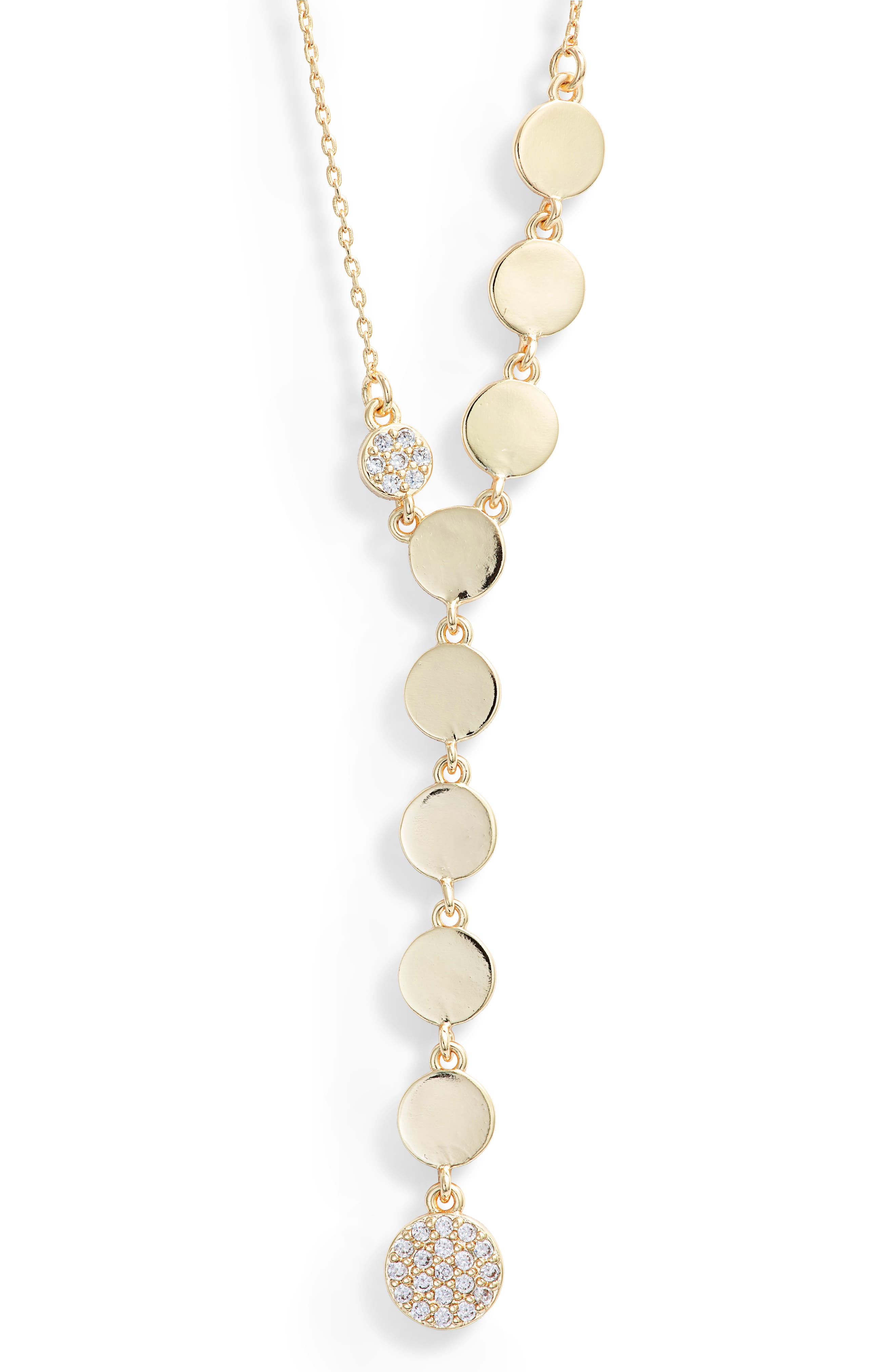 MELINDA MARIA Disc Y-Necklace in Clear/ Gold