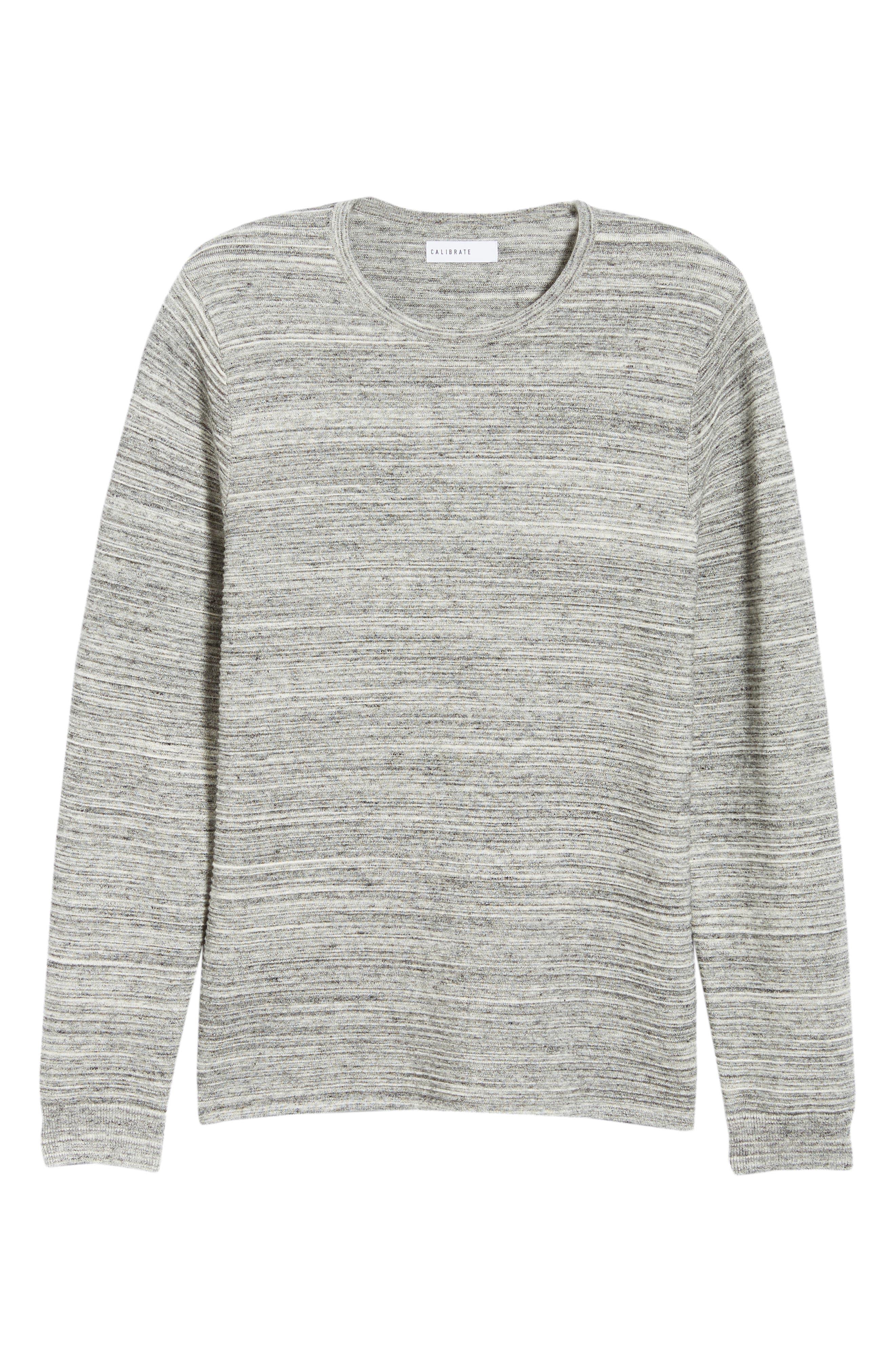 Ottoman Crewneck Sweater,                             Alternate thumbnail 6, color,                             GREY TORNADO SPACEDYE