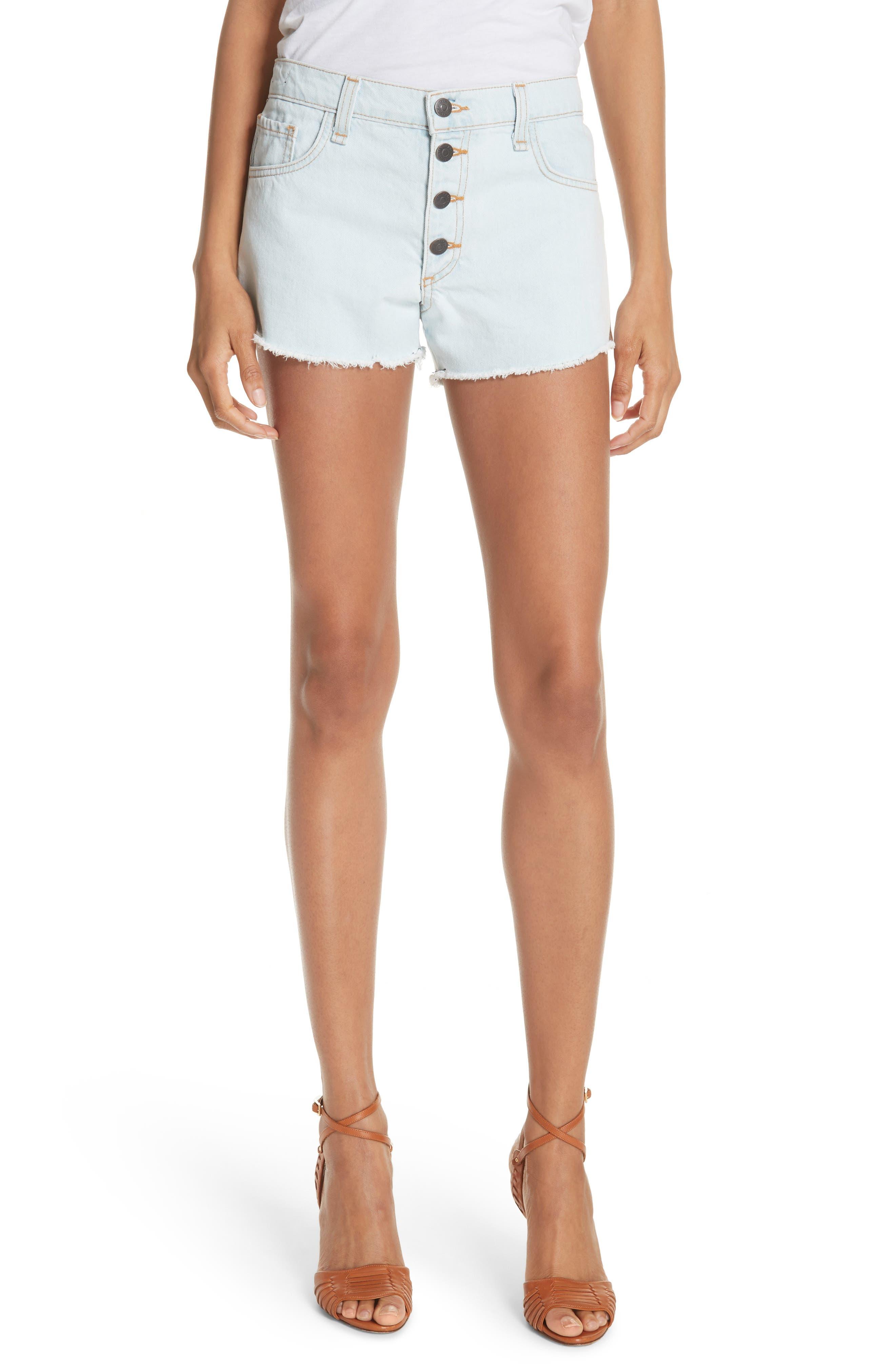 Debbie Denim Shorts,                         Main,                         color, BLEACH