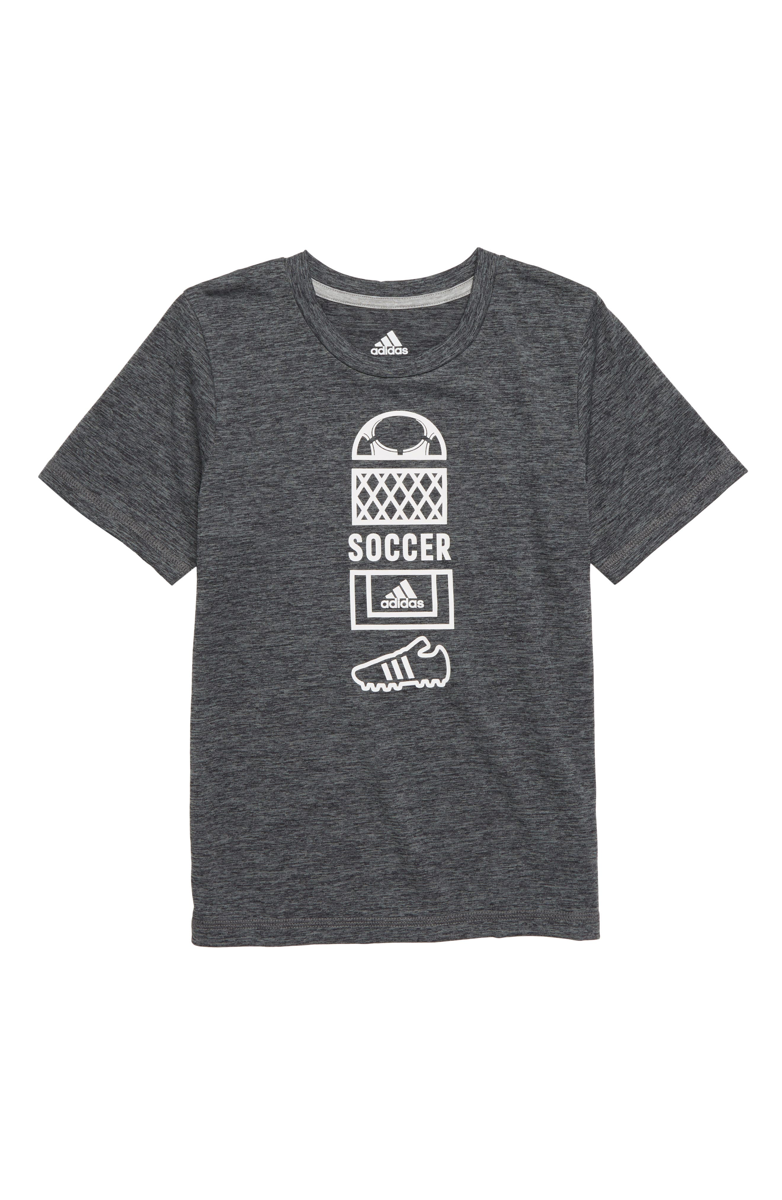 Soccer Vertical Collage Graphic T-Shirt,                             Main thumbnail 1, color,                             DARK GREY