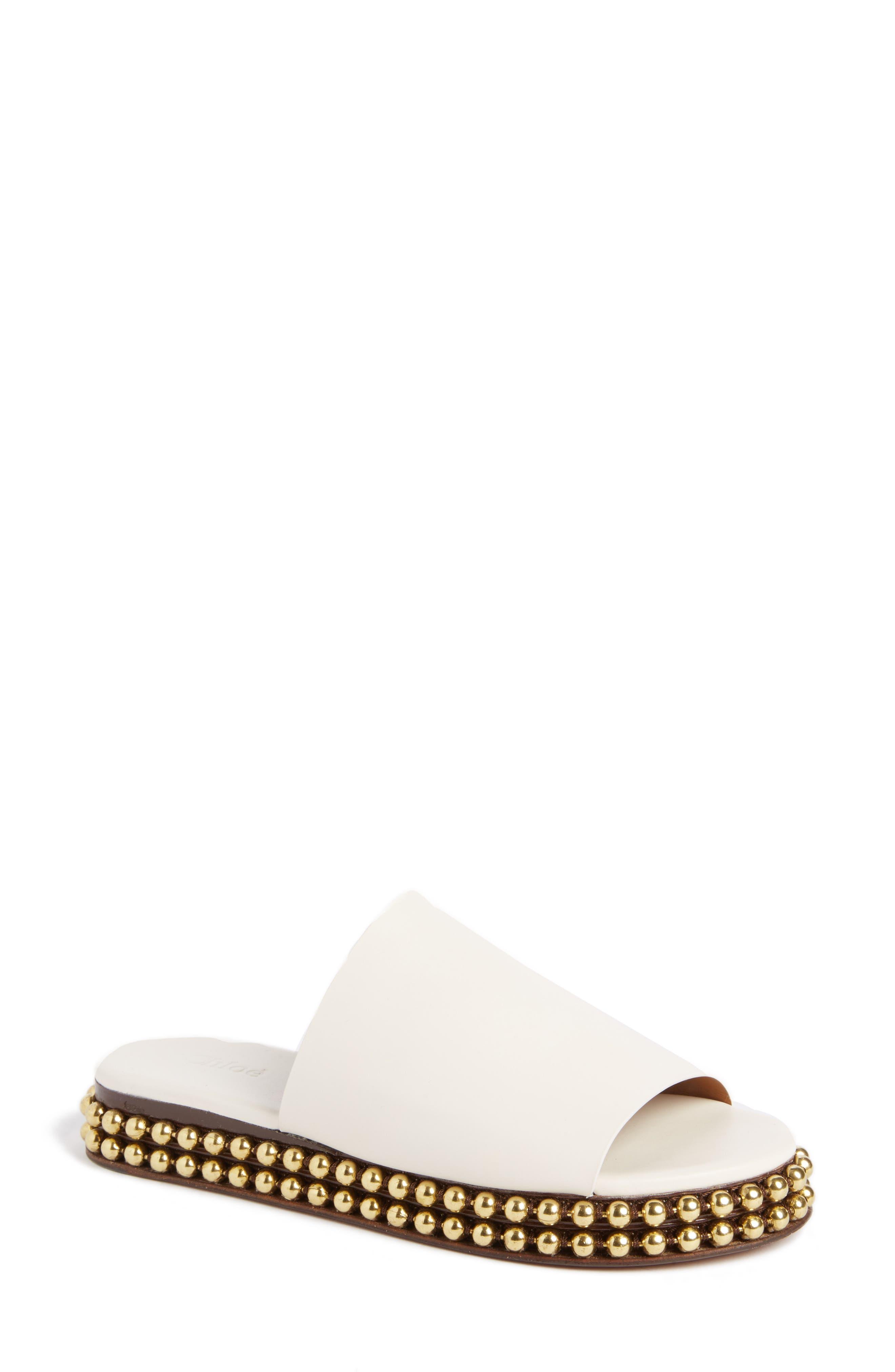Sawyer Studded Slide Sandal,                         Main,                         color, CLOUDY WHITE