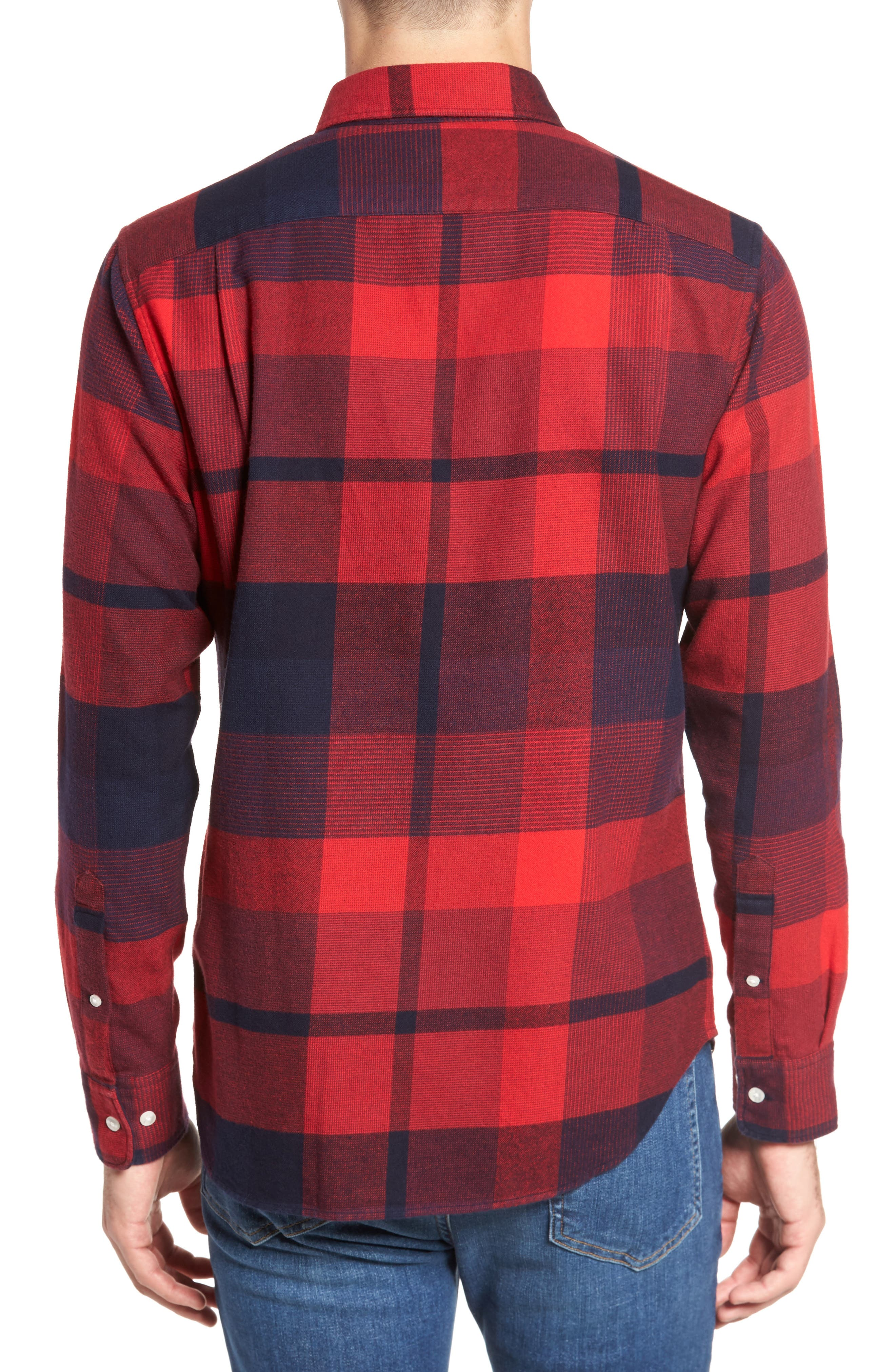 Slim Fit Brushed Plaid Sport Shirt,                             Alternate thumbnail 2, color,