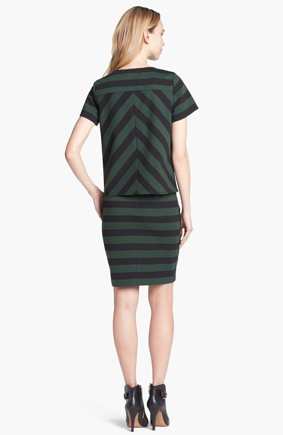 Faux Leather Trim Stripe Pencil Skirt,                             Alternate thumbnail 5, color,