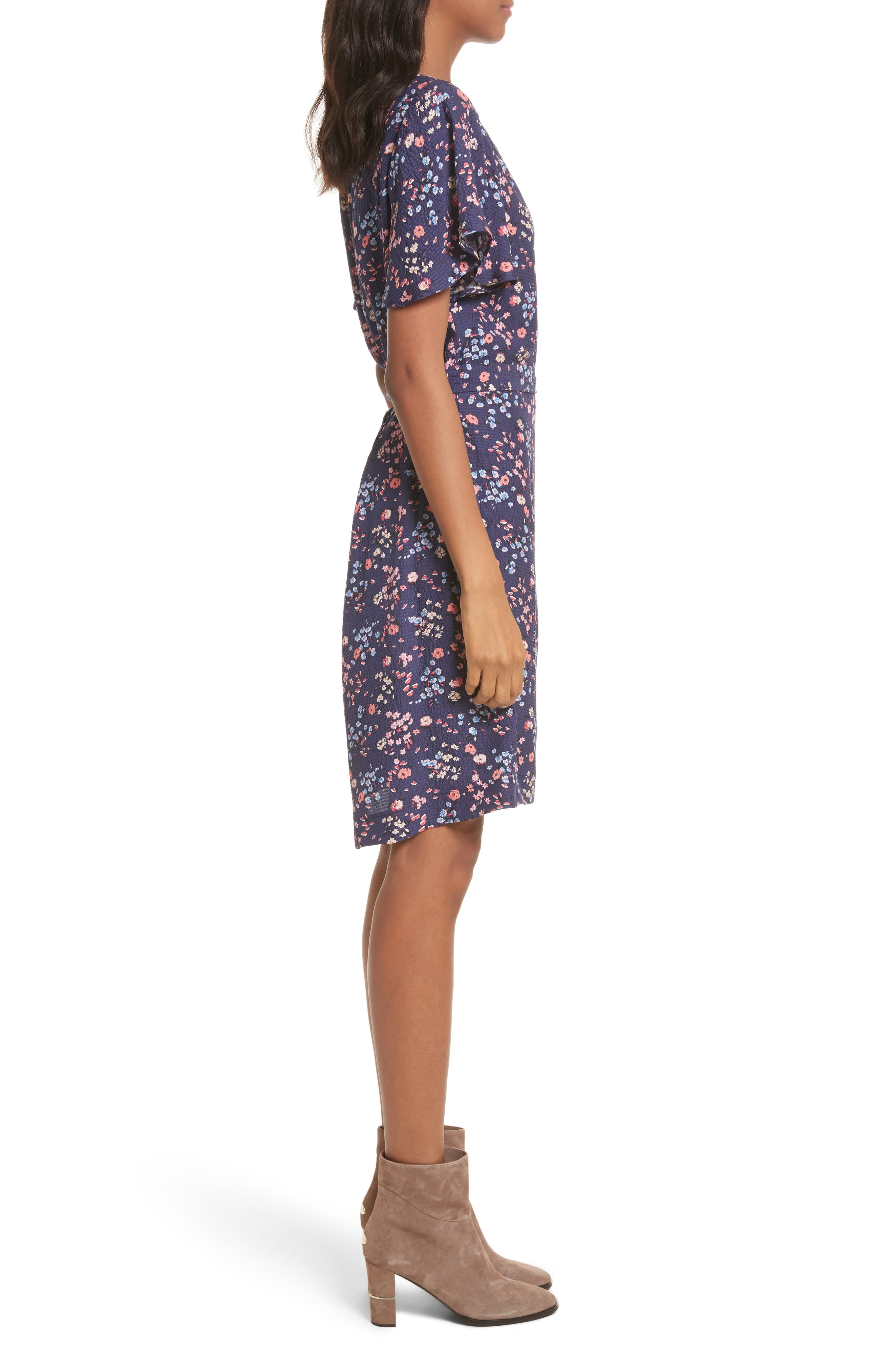 Woodland Floral Print Silk Dress,                             Alternate thumbnail 3, color,