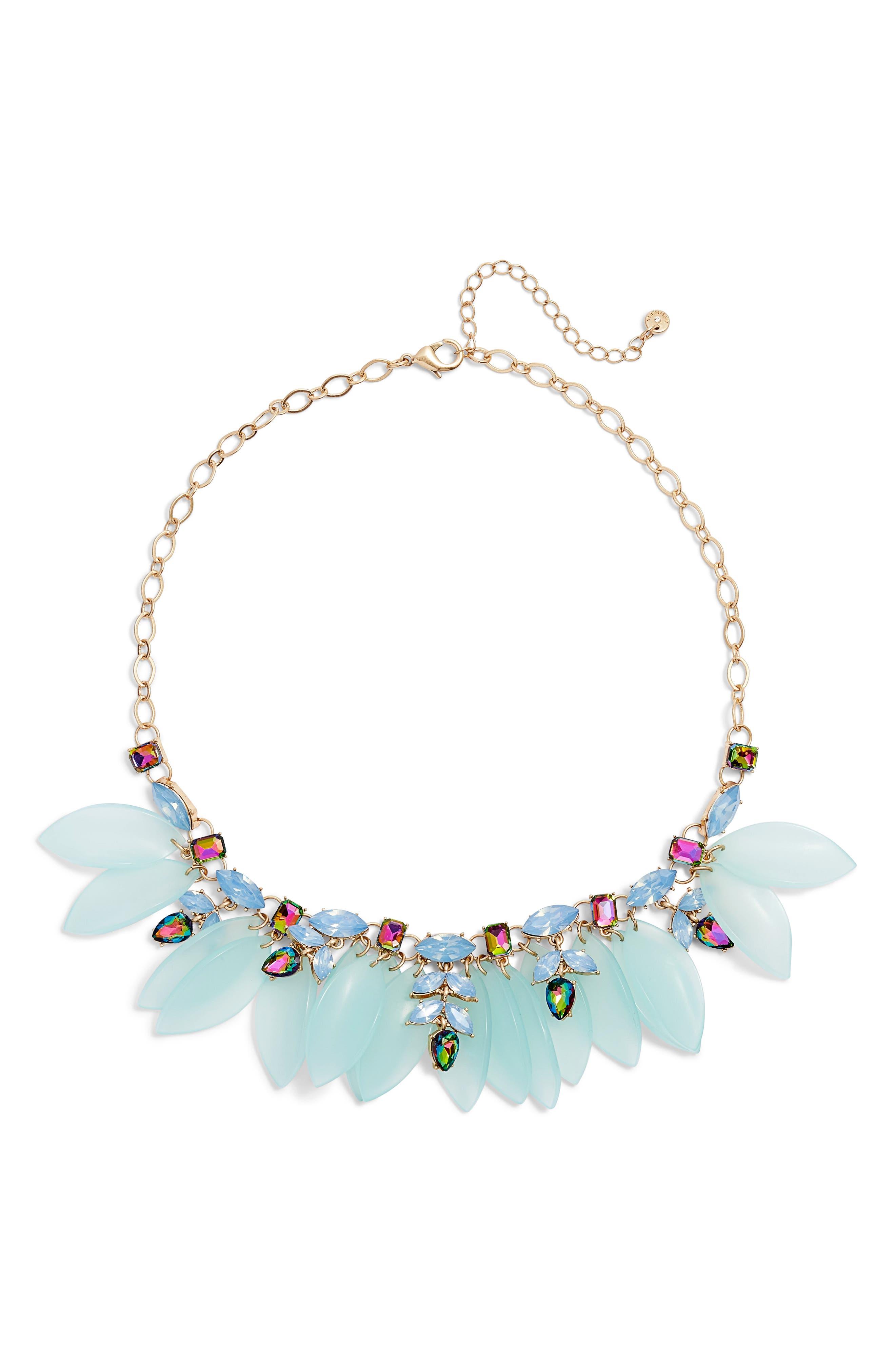 Petal & Stone Collar Necklace,                             Main thumbnail 1, color,                             450