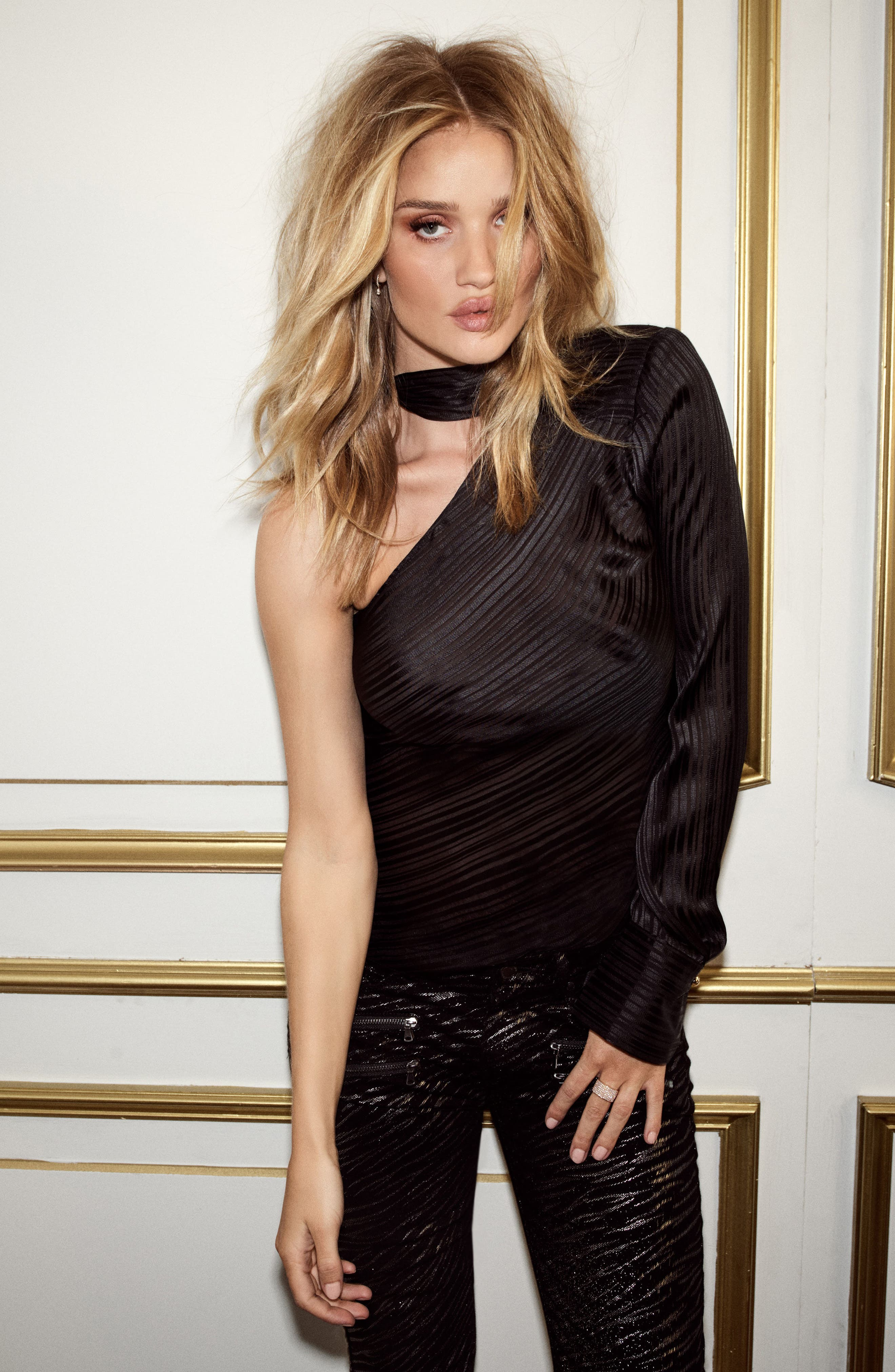 Rosie HW x PAIGE Rona Silk Blouse,                             Alternate thumbnail 5, color,                             001
