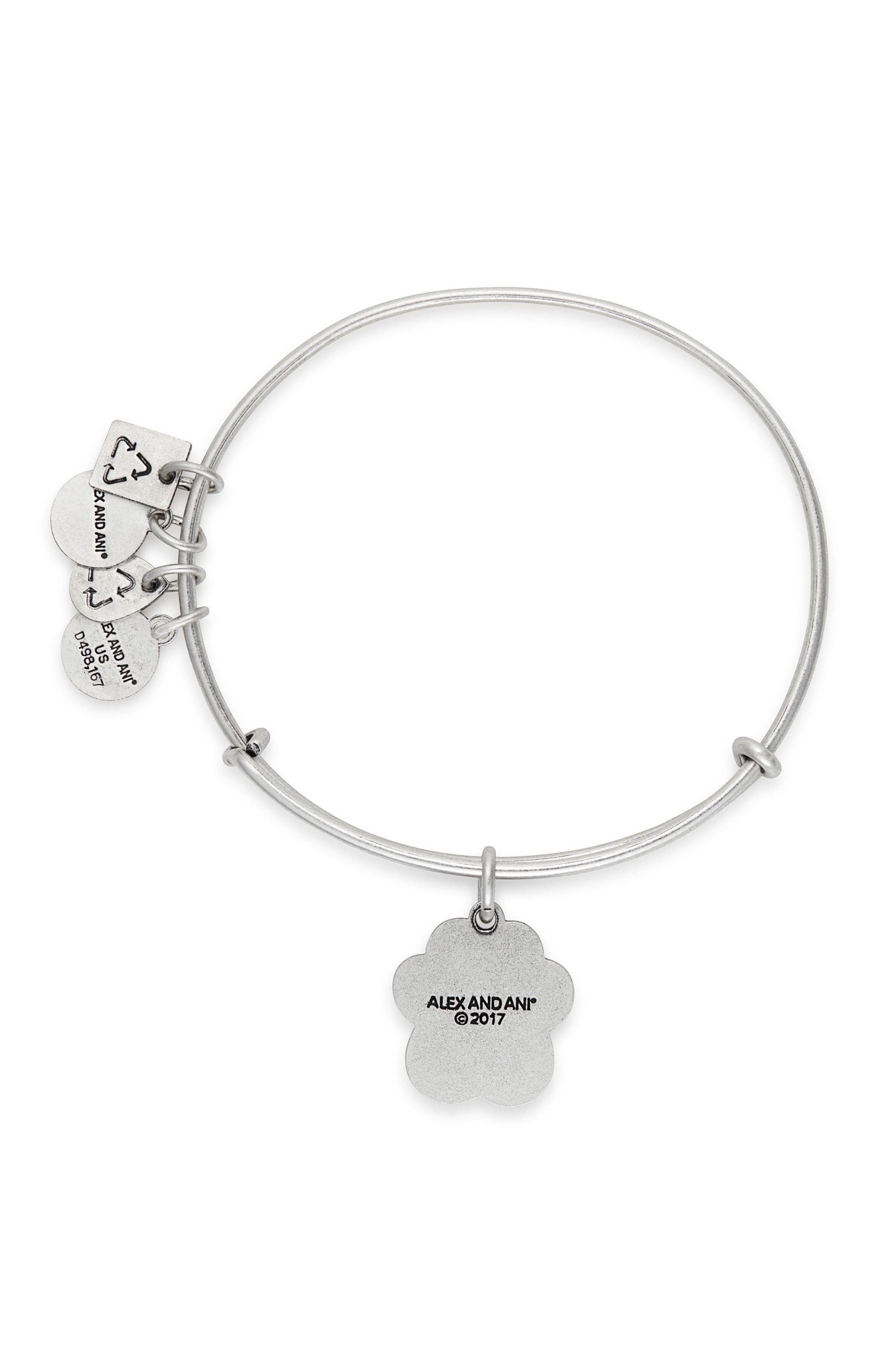 Prints of Love Adjustable Wire Bangle,                             Alternate thumbnail 2, color,                             SILVER