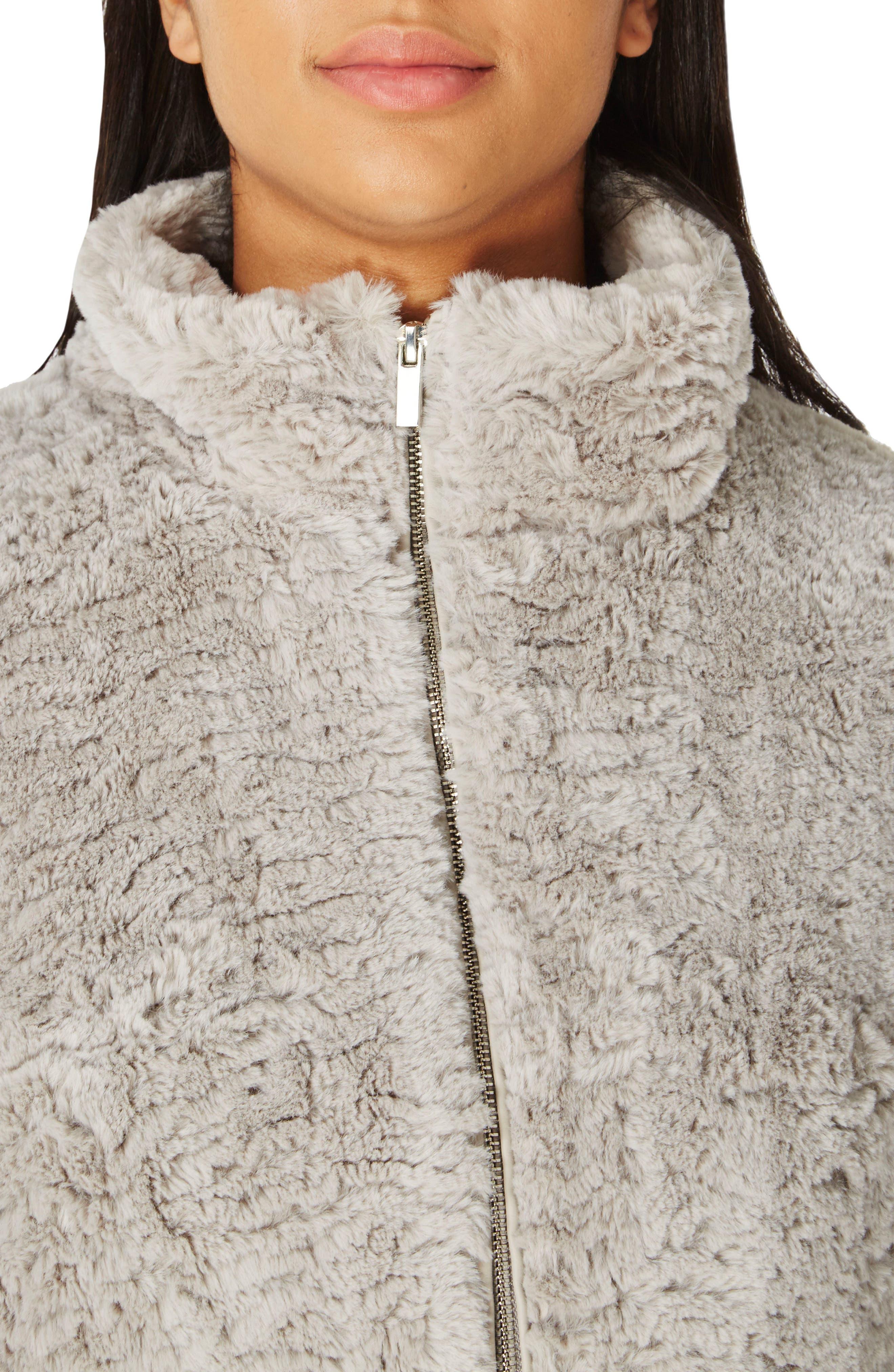 Faux Fur Funnel Collar Jacket,                             Alternate thumbnail 3, color,                             040
