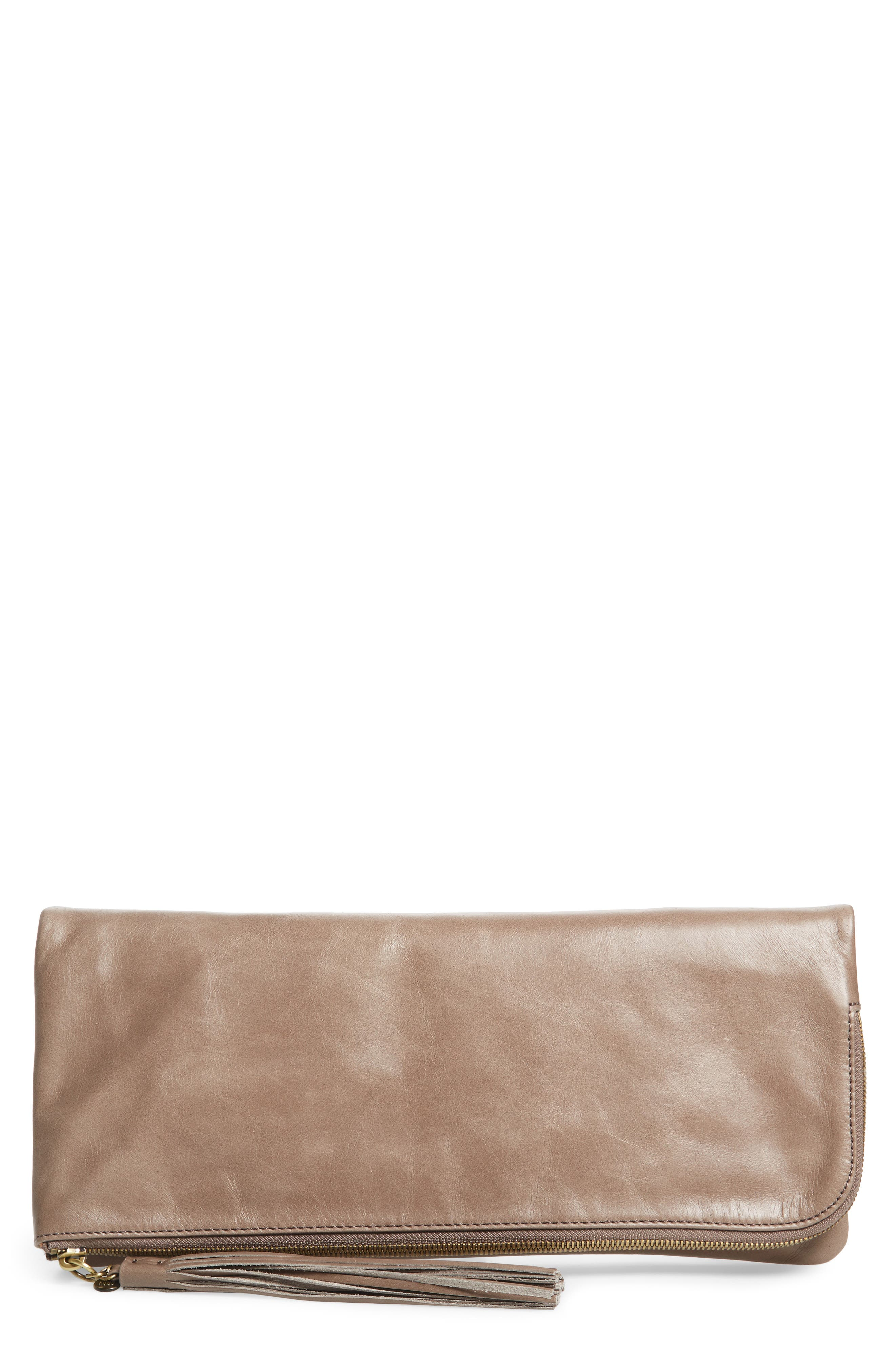 Raine Calfskin Leather Foldover Clutch,                             Main thumbnail 3, color,