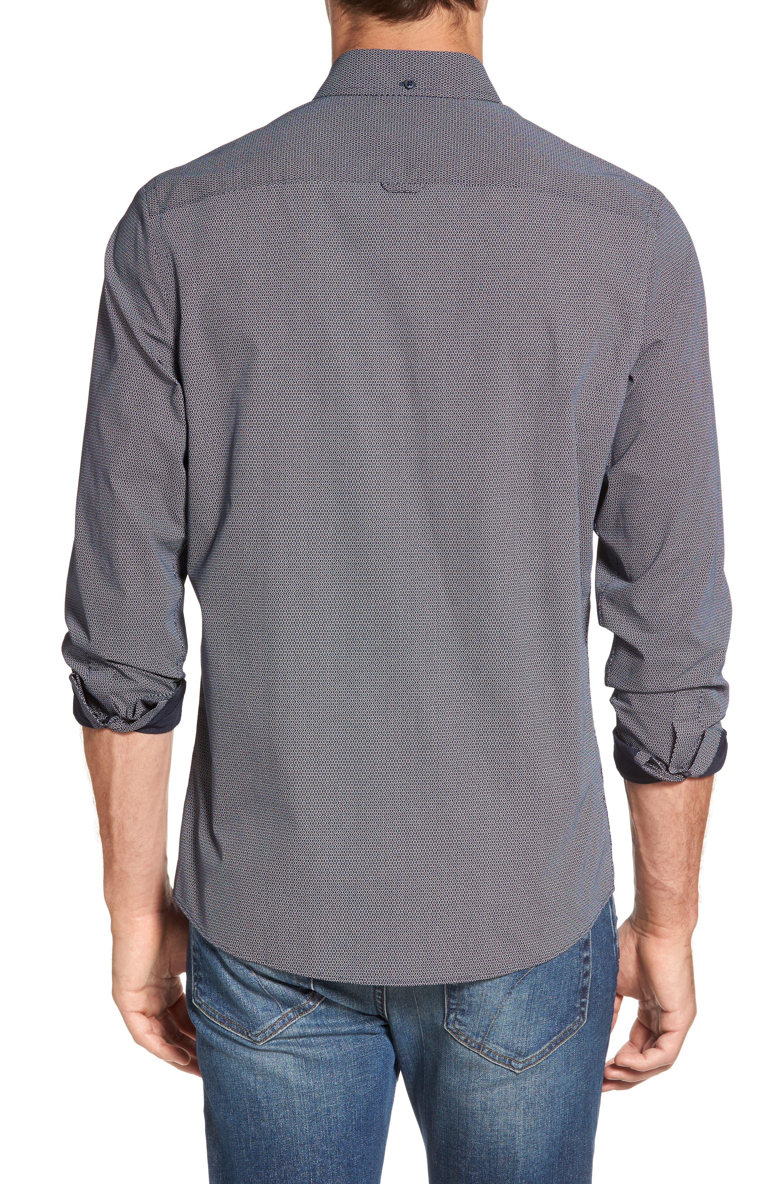 Slim Fit Non-Iron Dot Print Sport Shirt,                             Alternate thumbnail 2, color,                             410