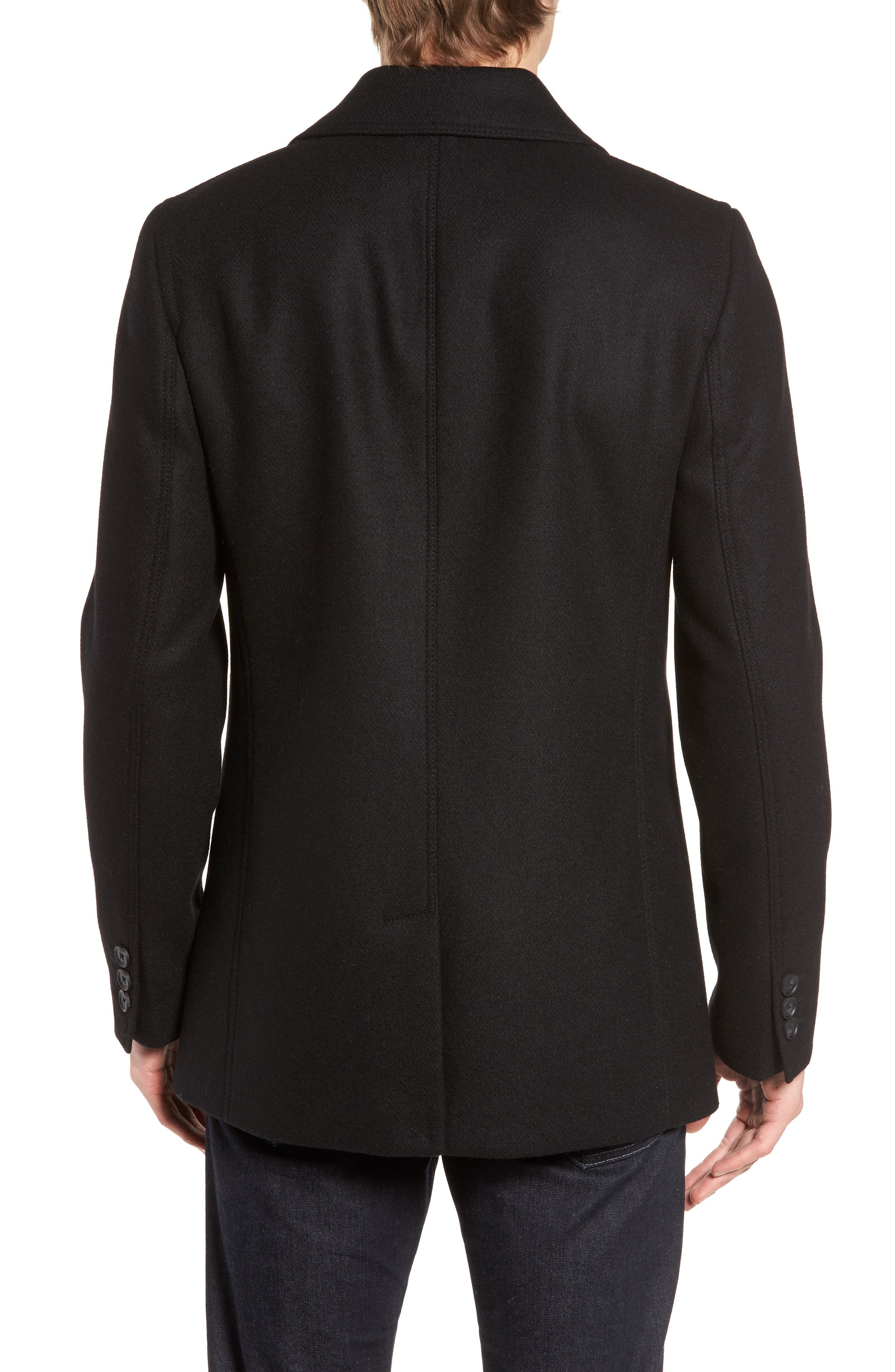 Zachary Trim Fit Double Breasted Peacoat,                             Alternate thumbnail 2, color,                             001