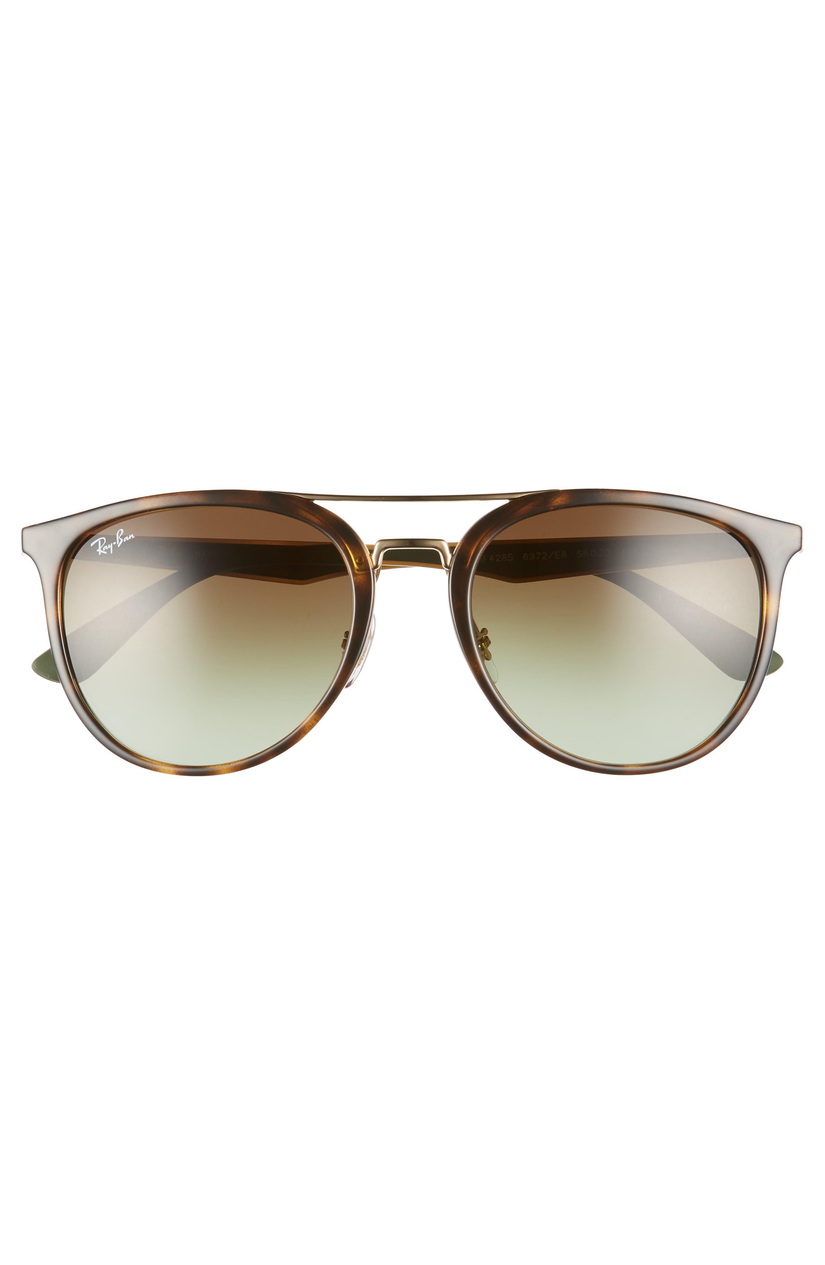 55mm Retro Sunglasses,                             Alternate thumbnail 3, color,                             HAVANA