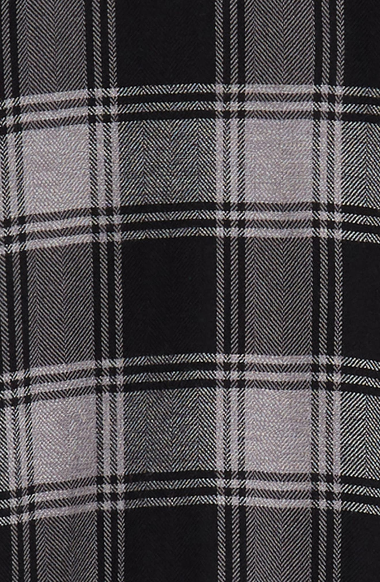 Lennox Slim Fit Plaid Sport Shirt,                             Alternate thumbnail 6, color,                             BLACK GREY