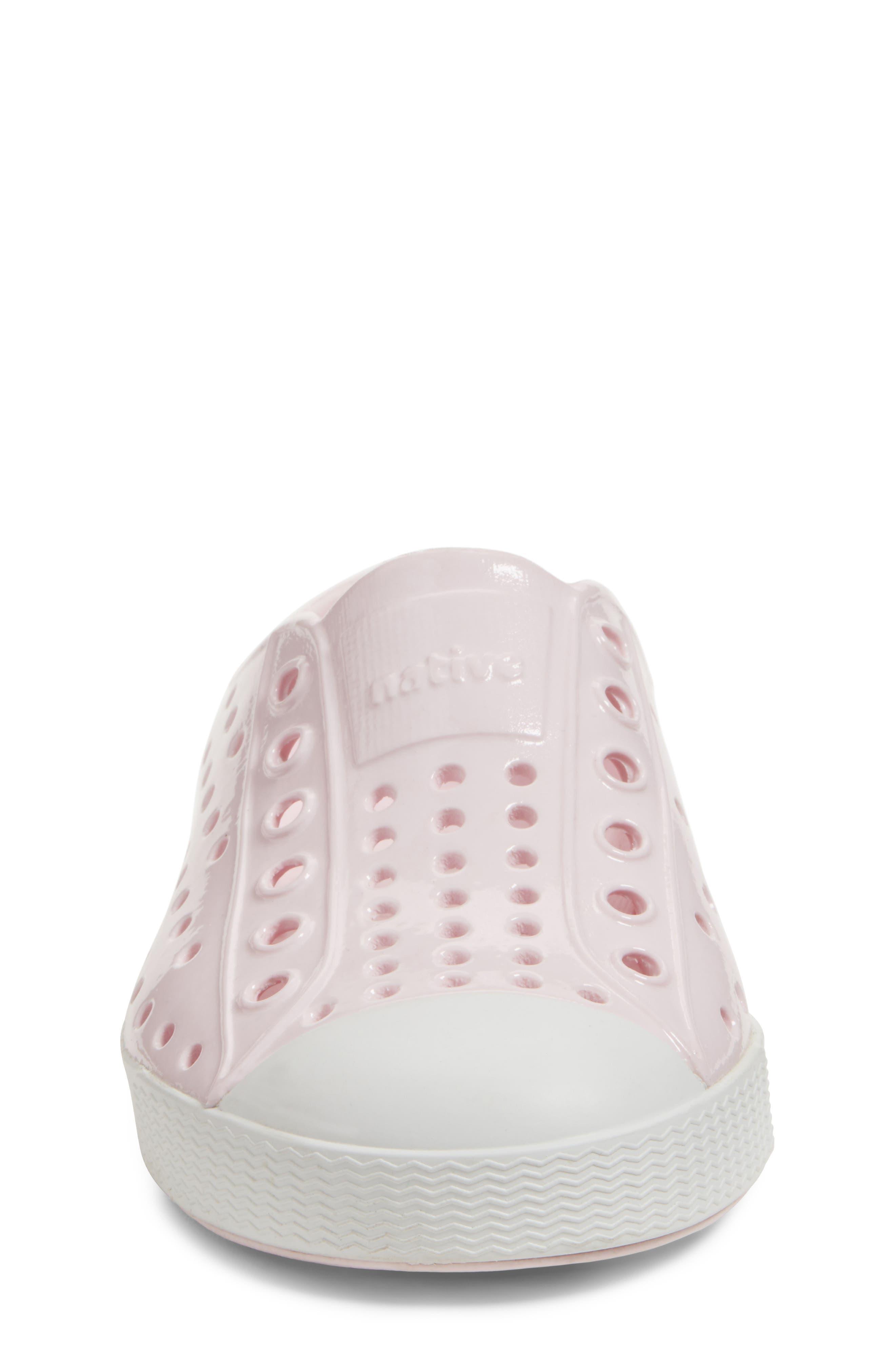 Jefferson Glossy Slip-On Sneaker,                             Alternate thumbnail 4, color,                             MILK PINK/ SHELL WHITE