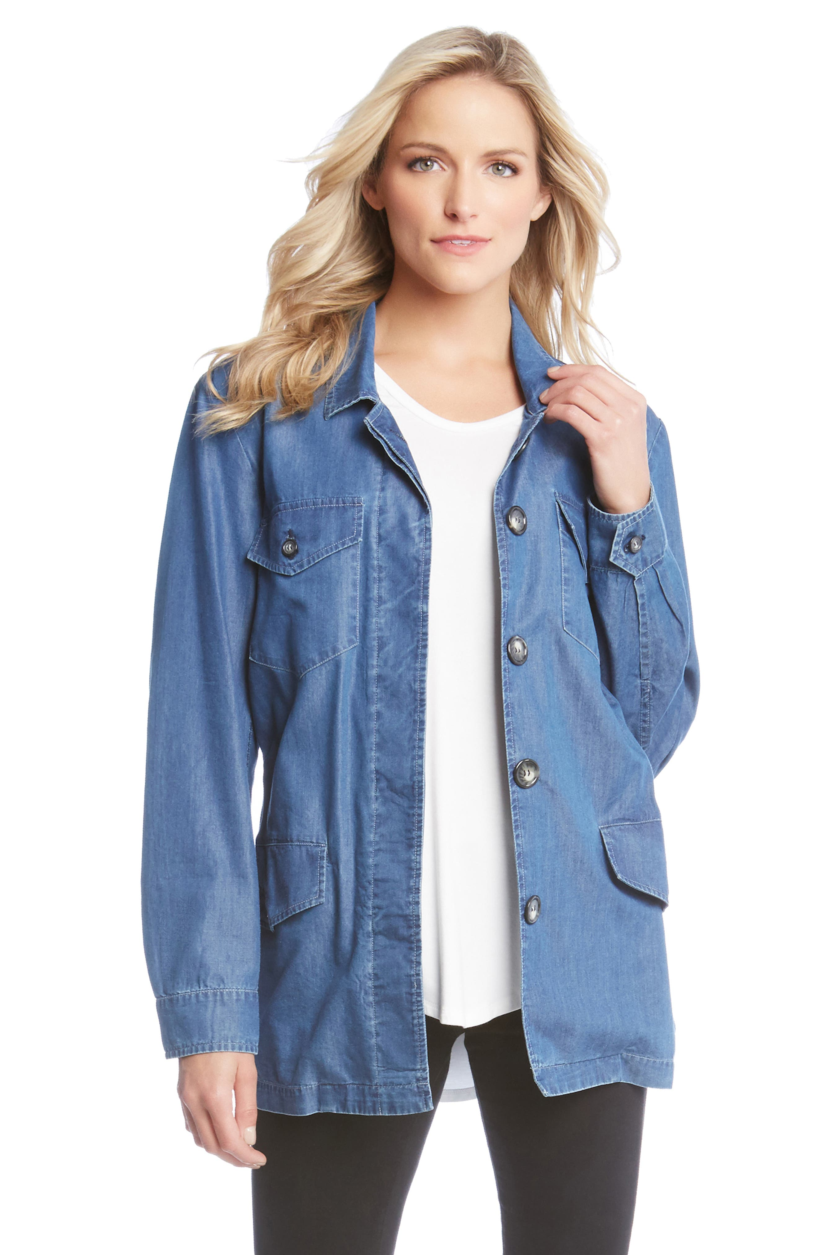 Belted Chambray Cargo Jacket,                             Alternate thumbnail 3, color,                             455