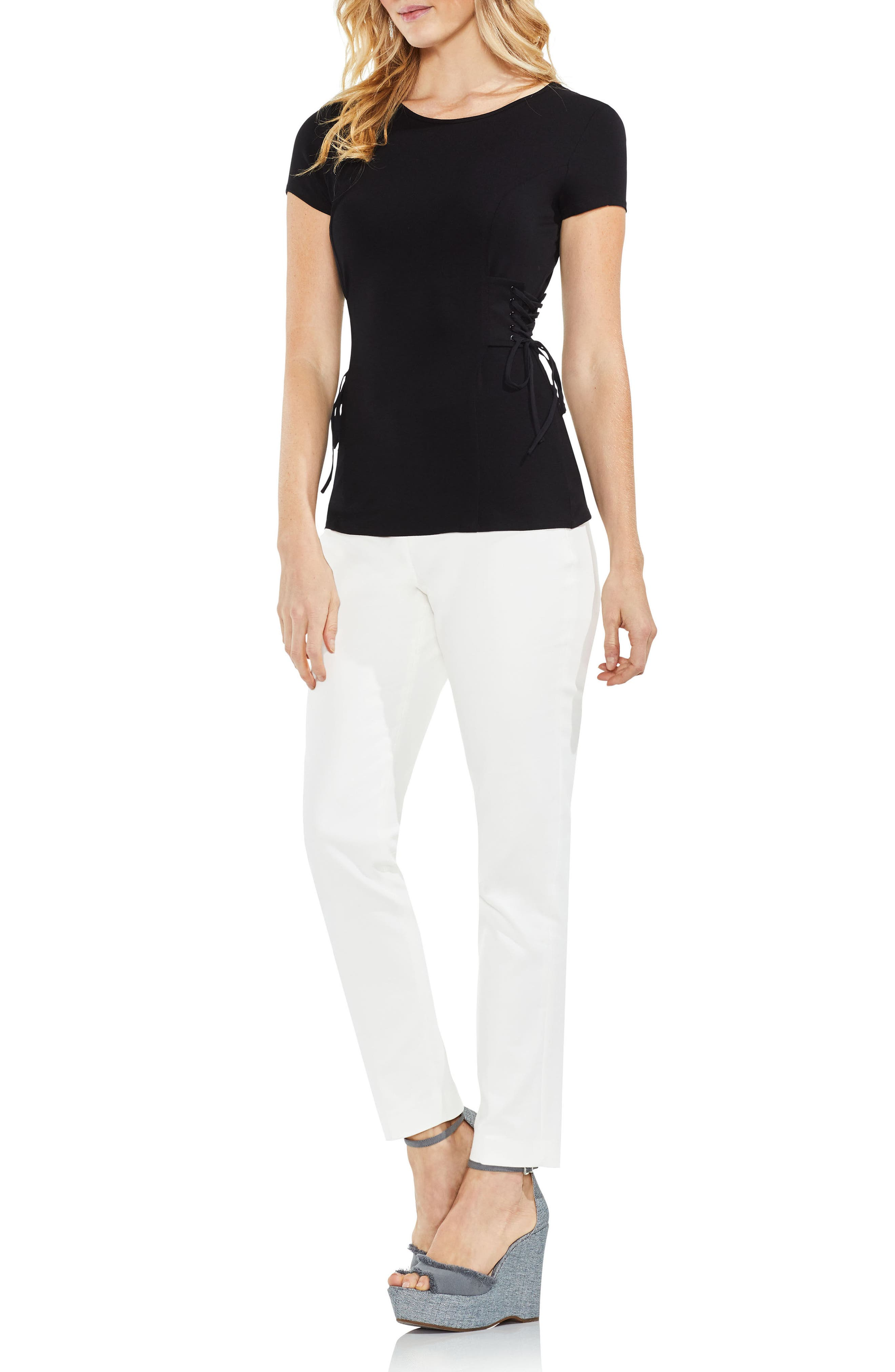 Side Lace-Up Top,                             Alternate thumbnail 5, color,                             006