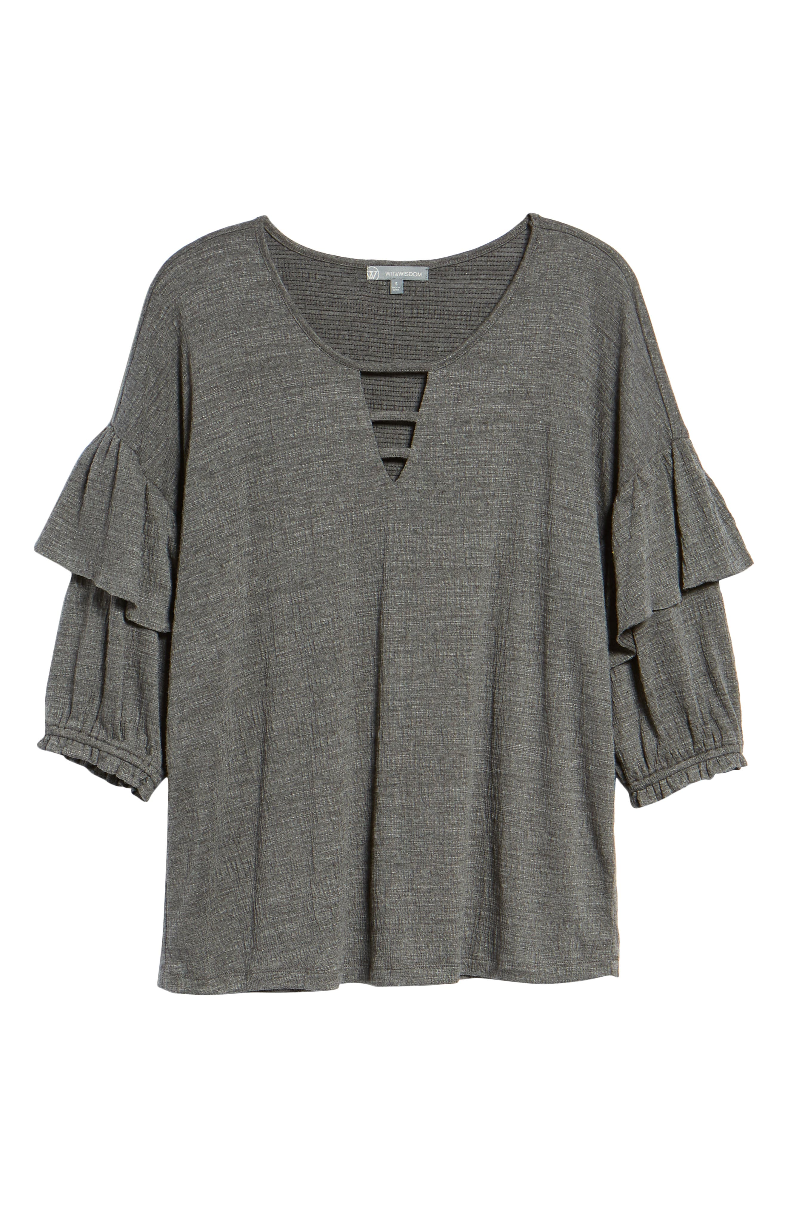 Ruffle Top,                             Alternate thumbnail 6, color,                             CHARCOAL