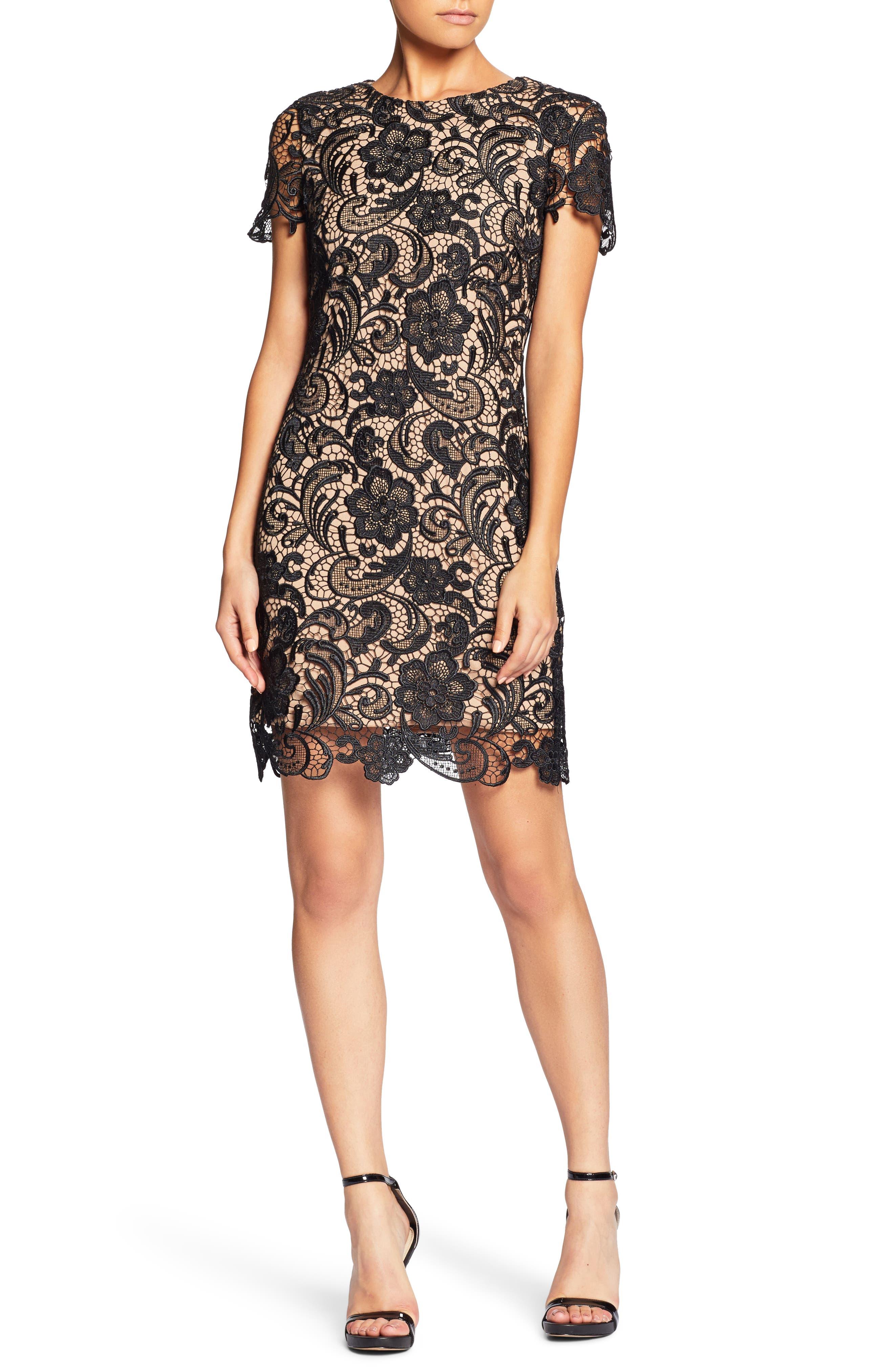 Anna Crochet Lace Sheath Dress,                             Main thumbnail 1, color,                             014