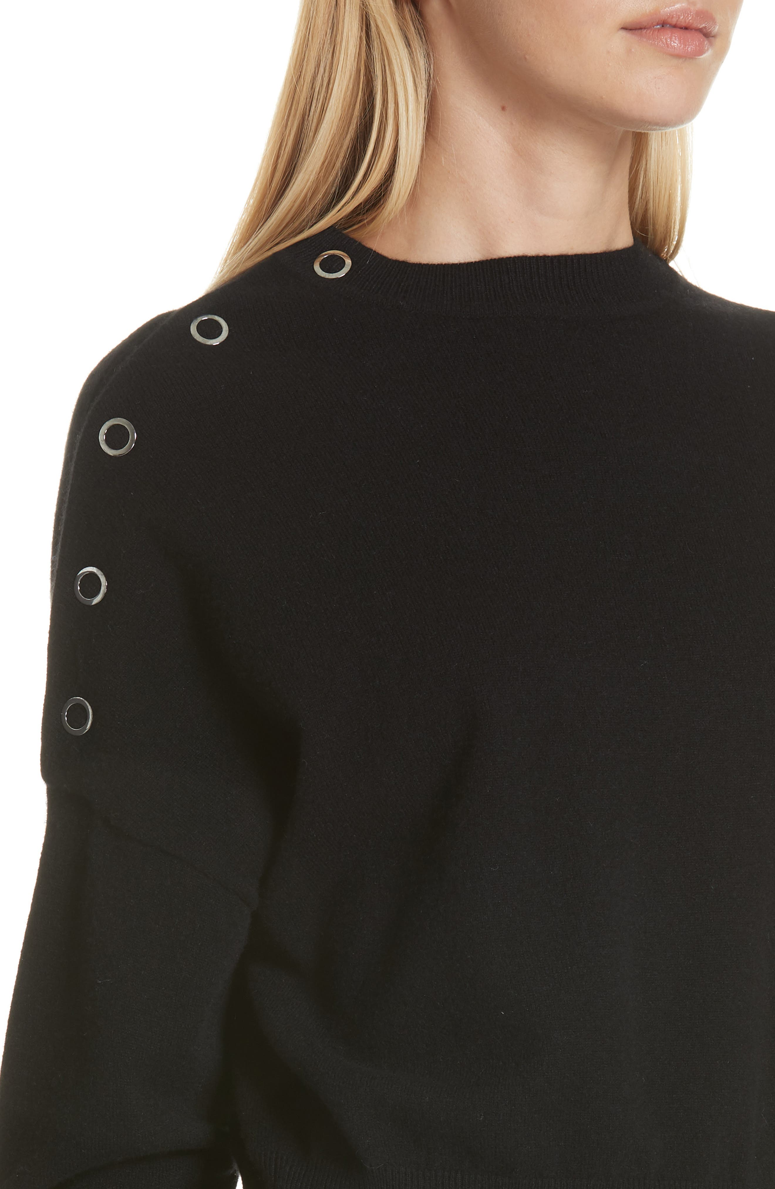 Snap Detail Cashmere Blend Sweater,                             Alternate thumbnail 4, color,                             BLACK