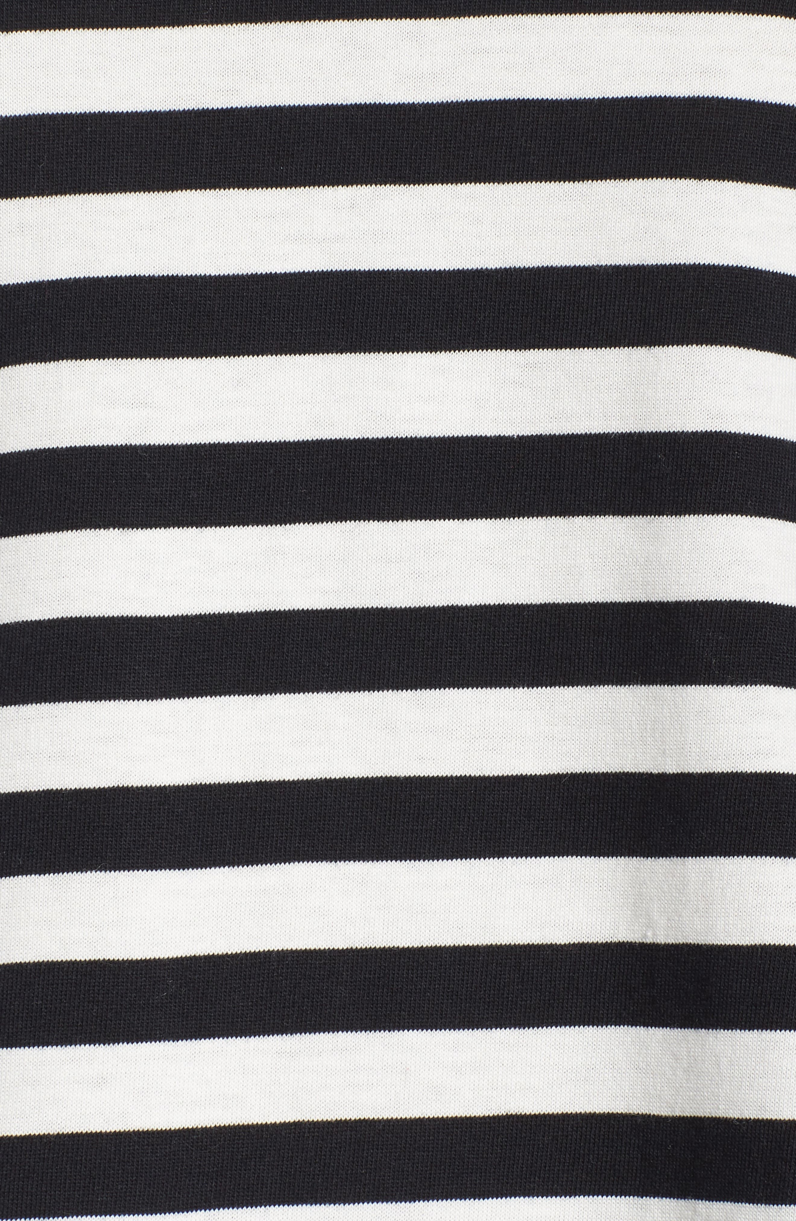 Flutter Sleeve Tee,                             Alternate thumbnail 12, color,                             BLACK/ WHITE STRIPE