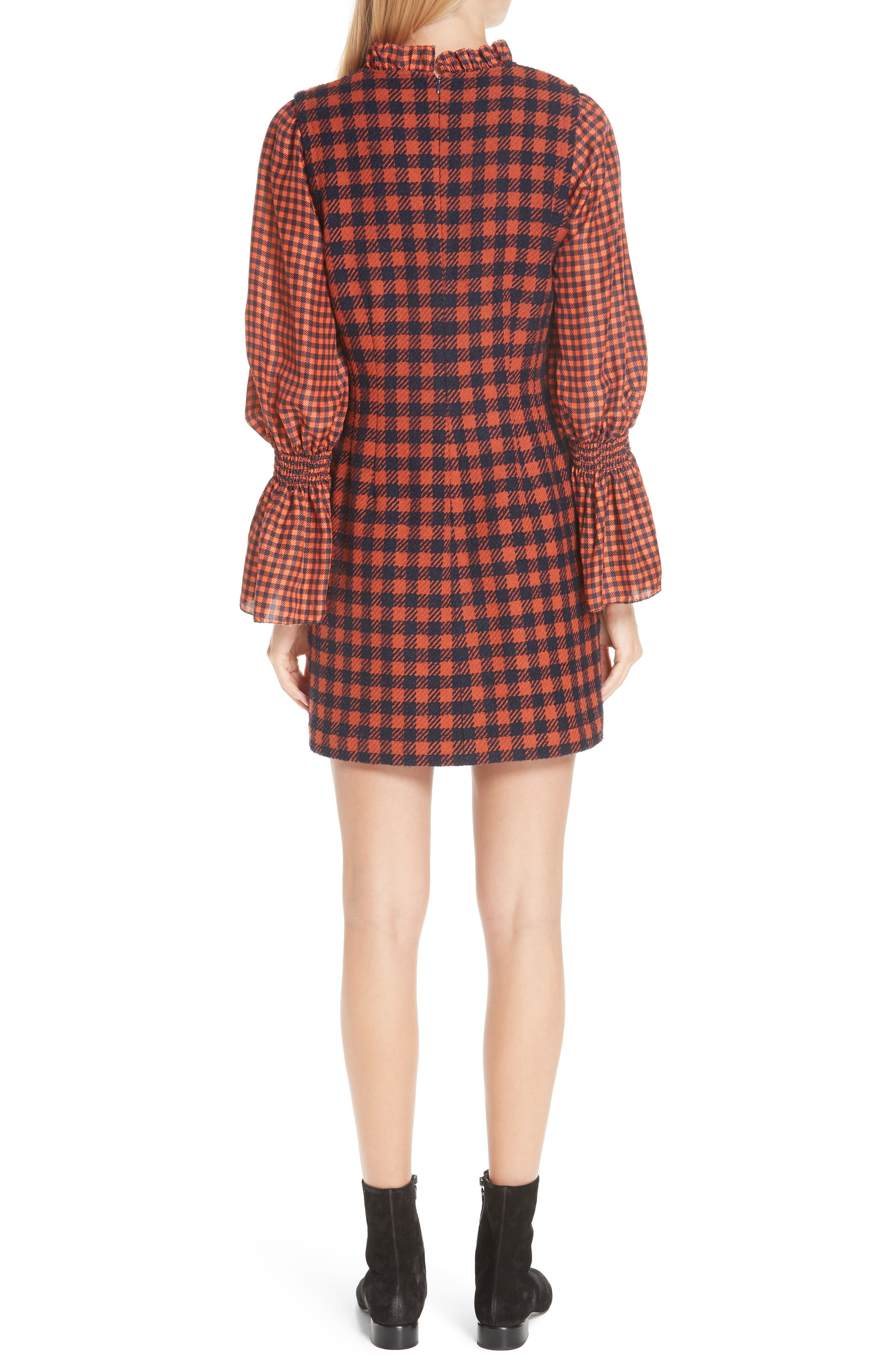 Ethno Pop Checkered Combo Dress,                             Alternate thumbnail 2, color,                             800